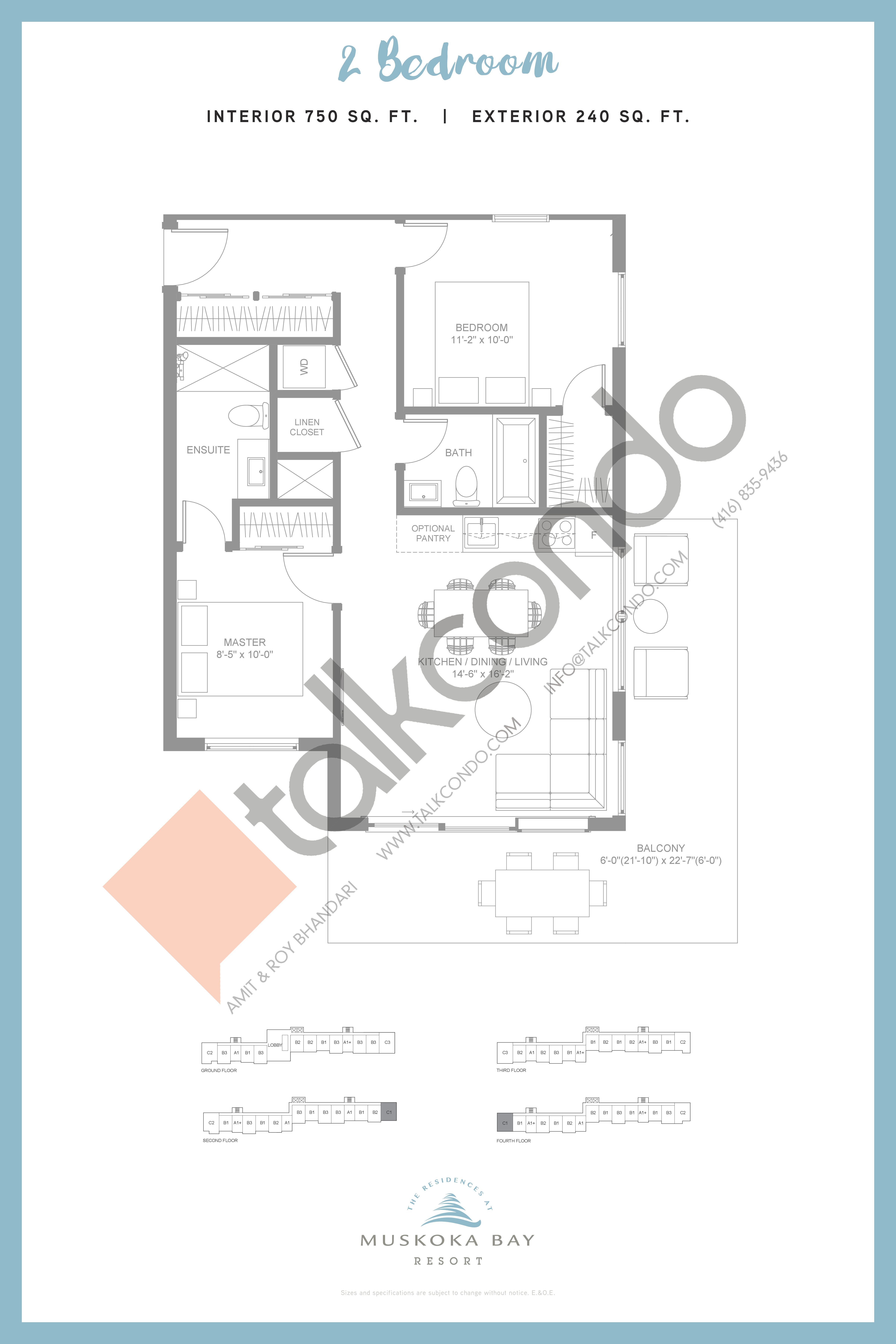 C2 (Suite Collection) Floor Plan at Muskoka Bay Resort - 750 sq.ft
