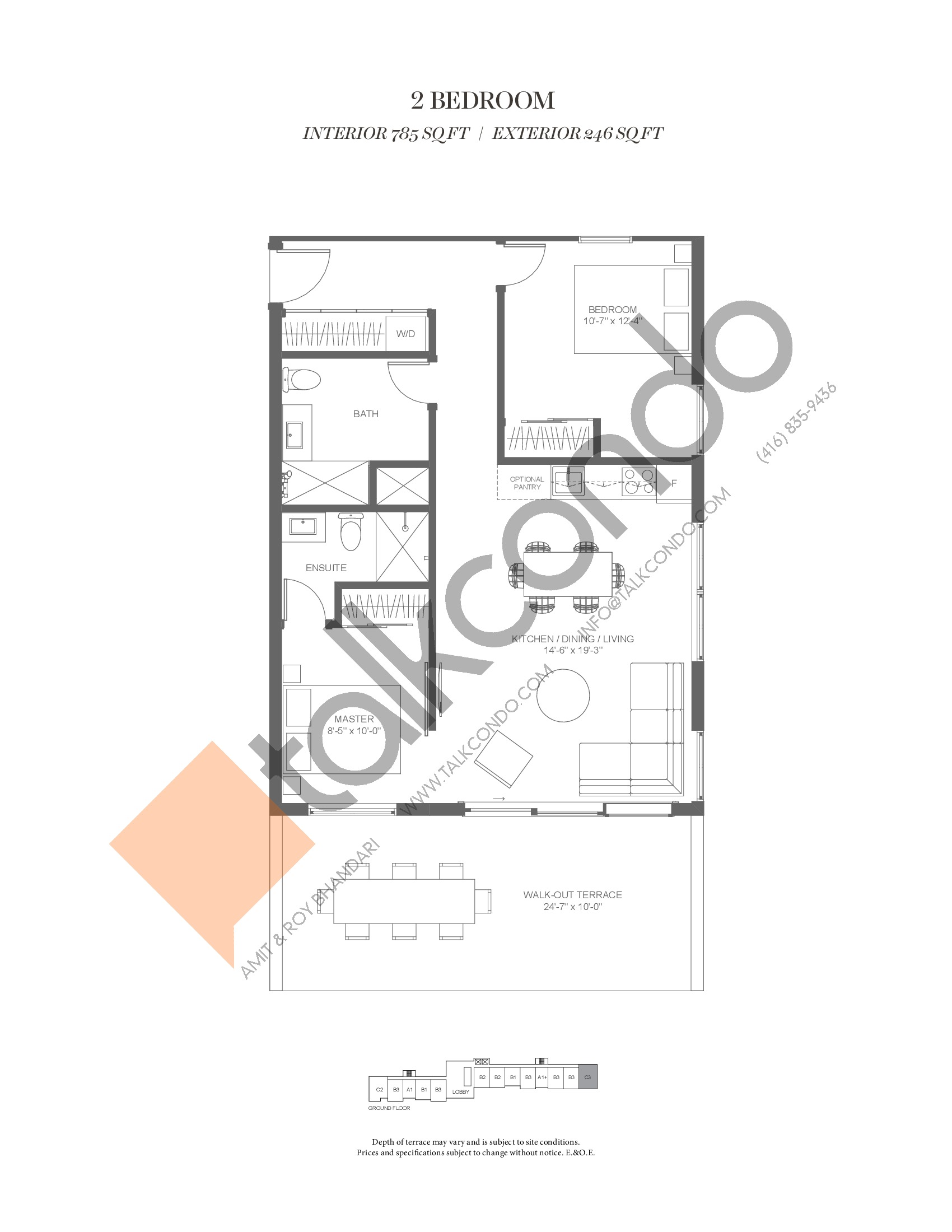 C3 (Fairway Collection) Floor Plan at Muskoka Bay Resort - 785 sq.ft