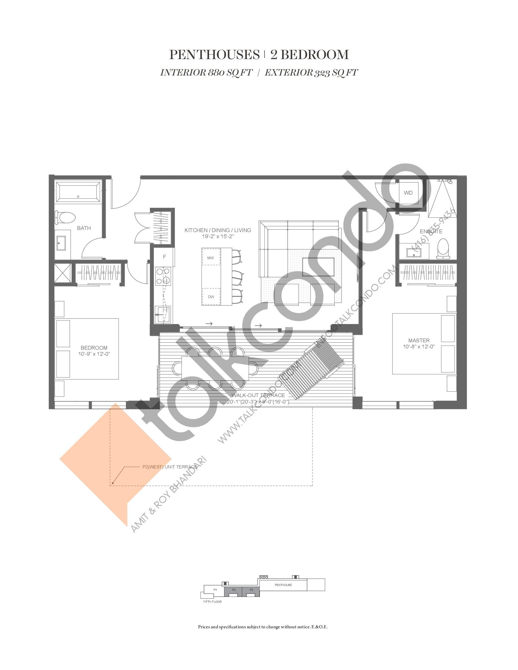 P3 (Penthouse Collection) Floor Plan at Muskoka Bay Resort - 880 sq.ft