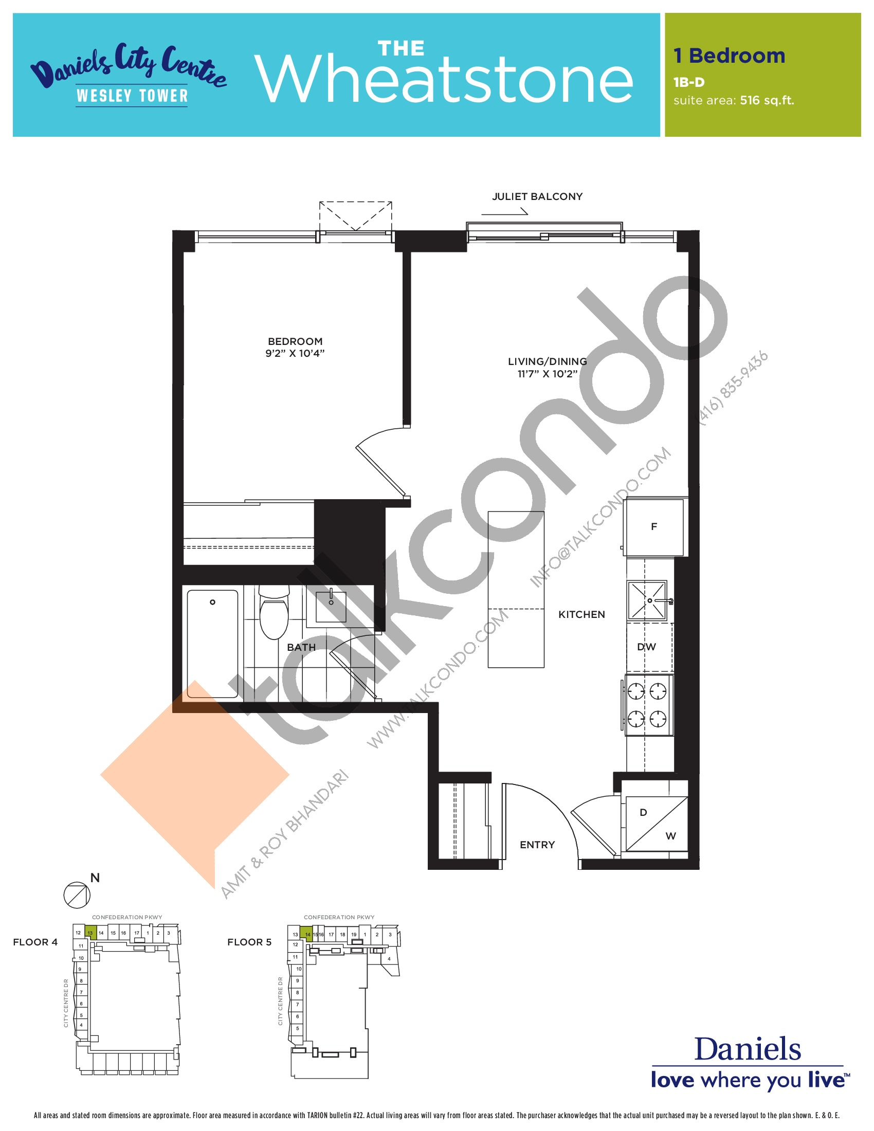 The Wheatstone Floor Plan at The Wesley Tower at Daniels City Centre Condos - 516 sq.ft