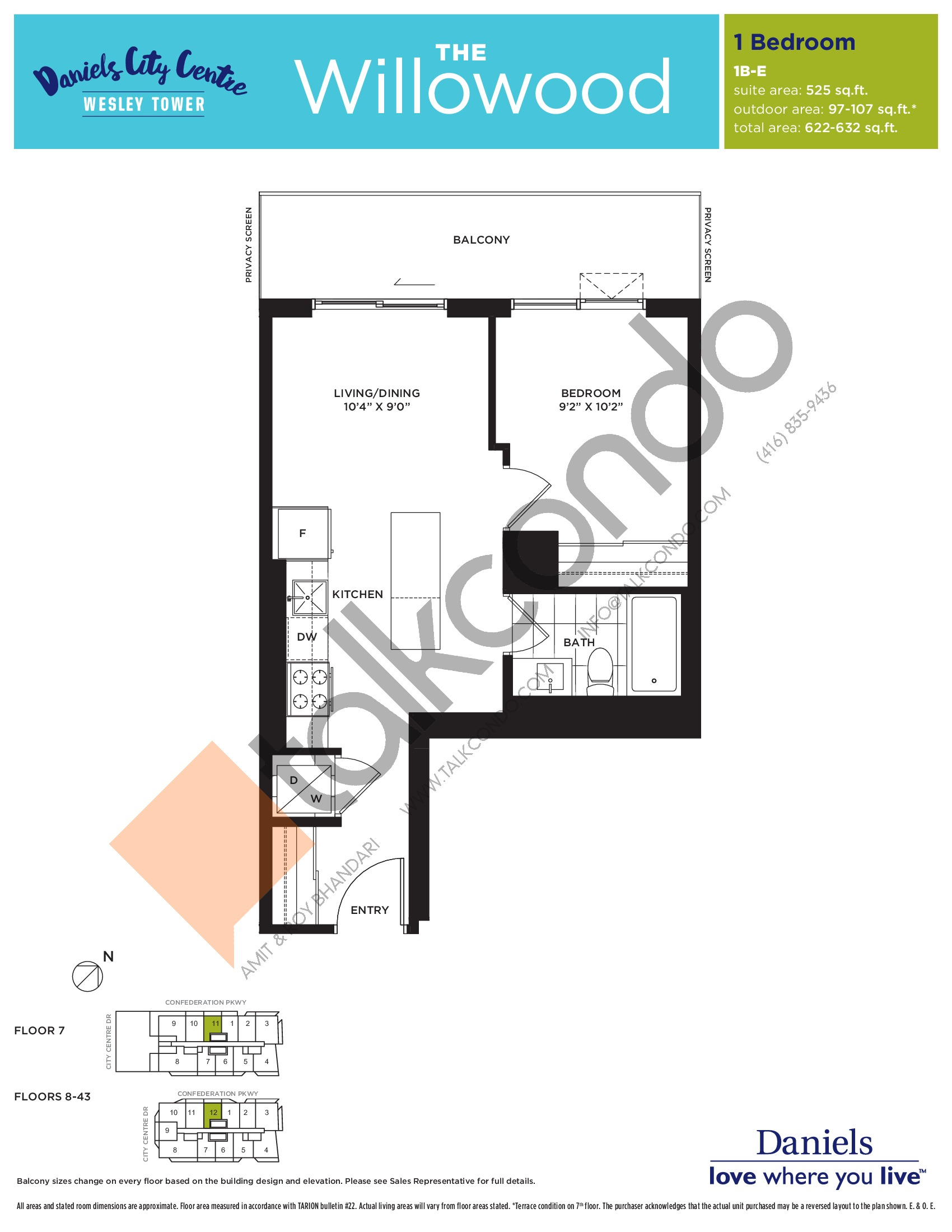 The Willowood Floor Plan at The Wesley Tower at Daniels City Centre Condos - 525 sq.ft