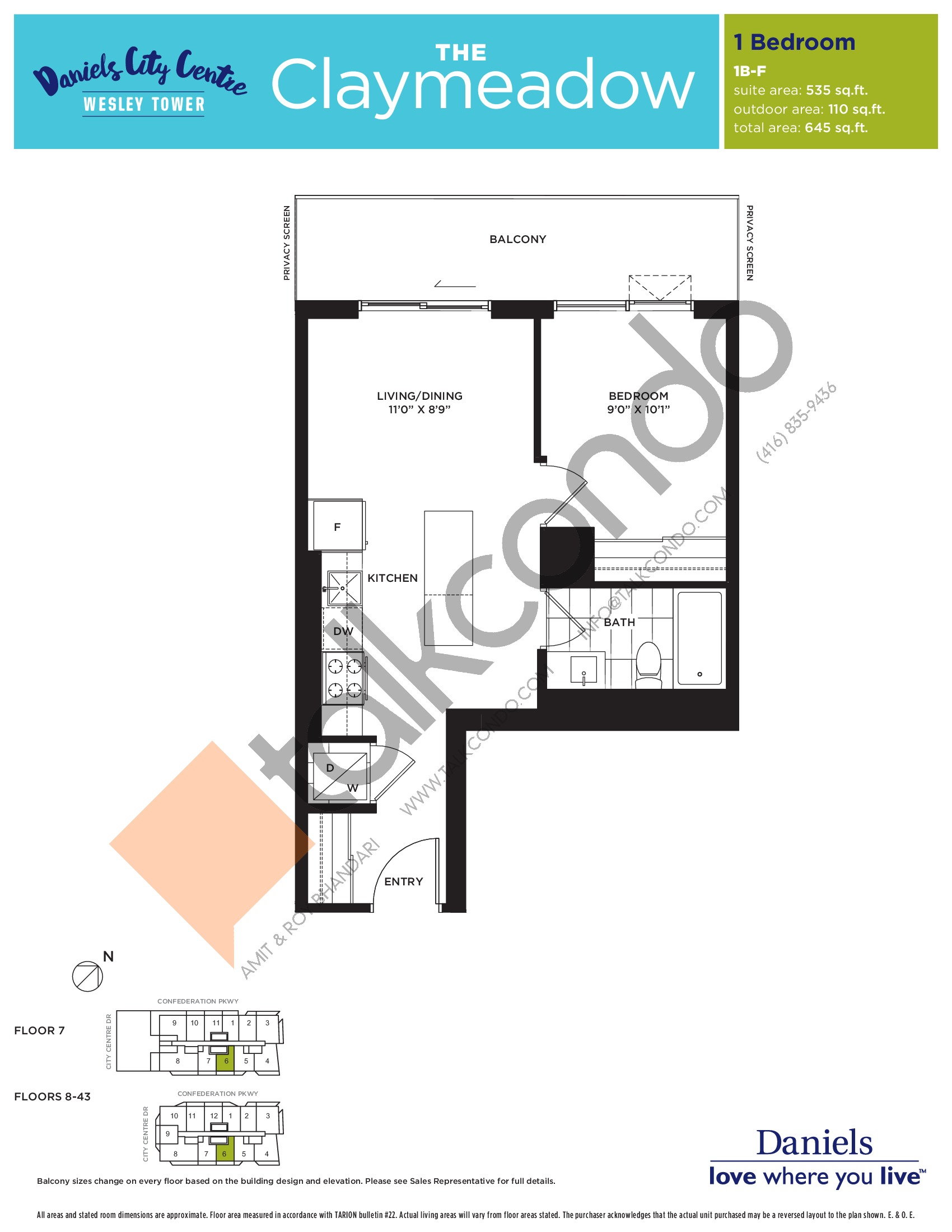 The Claymeadow Floor Plan at The Wesley Tower at Daniels City Centre Condos - 535 sq.ft