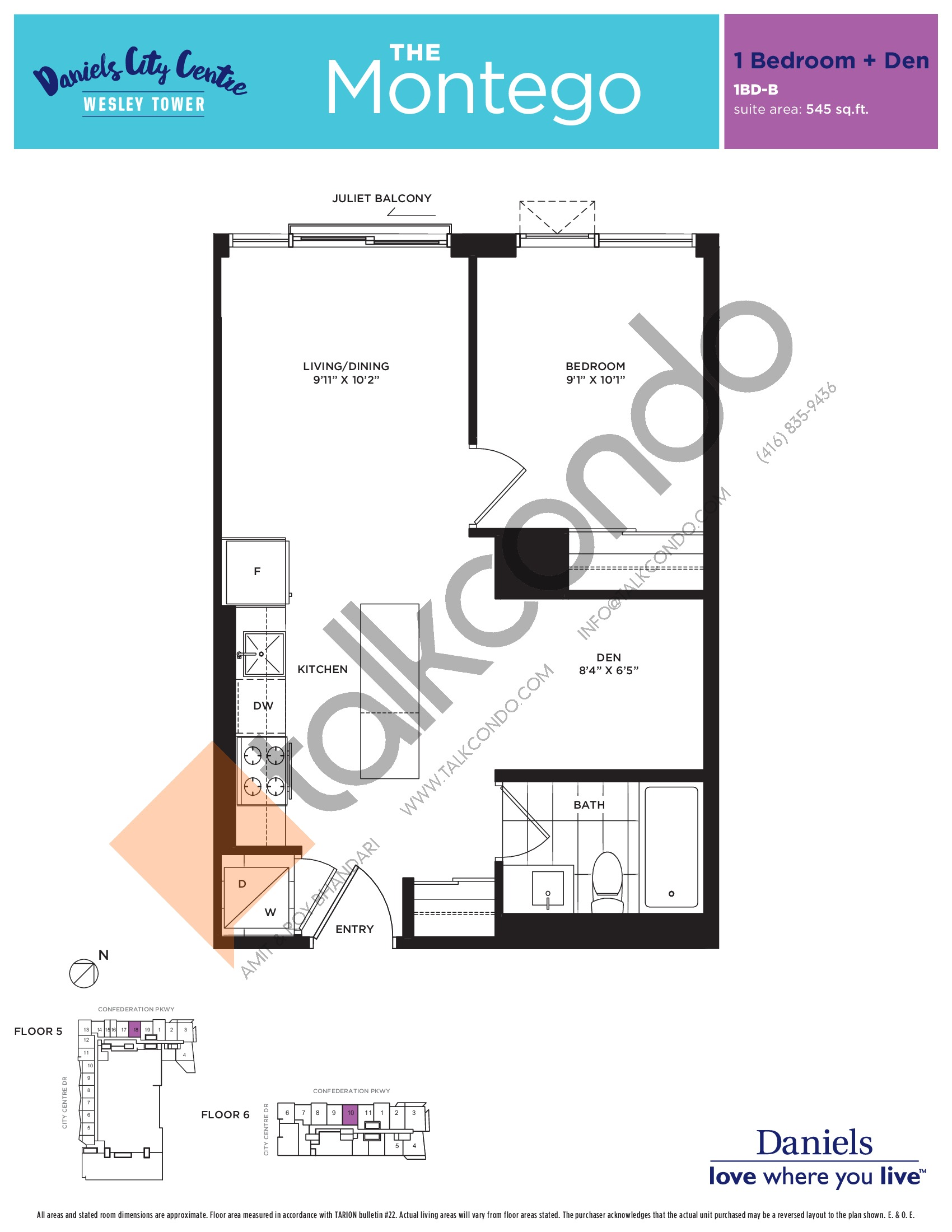 The Montego Floor Plan at The Wesley Tower at Daniels City Centre Condos - 545 sq.ft