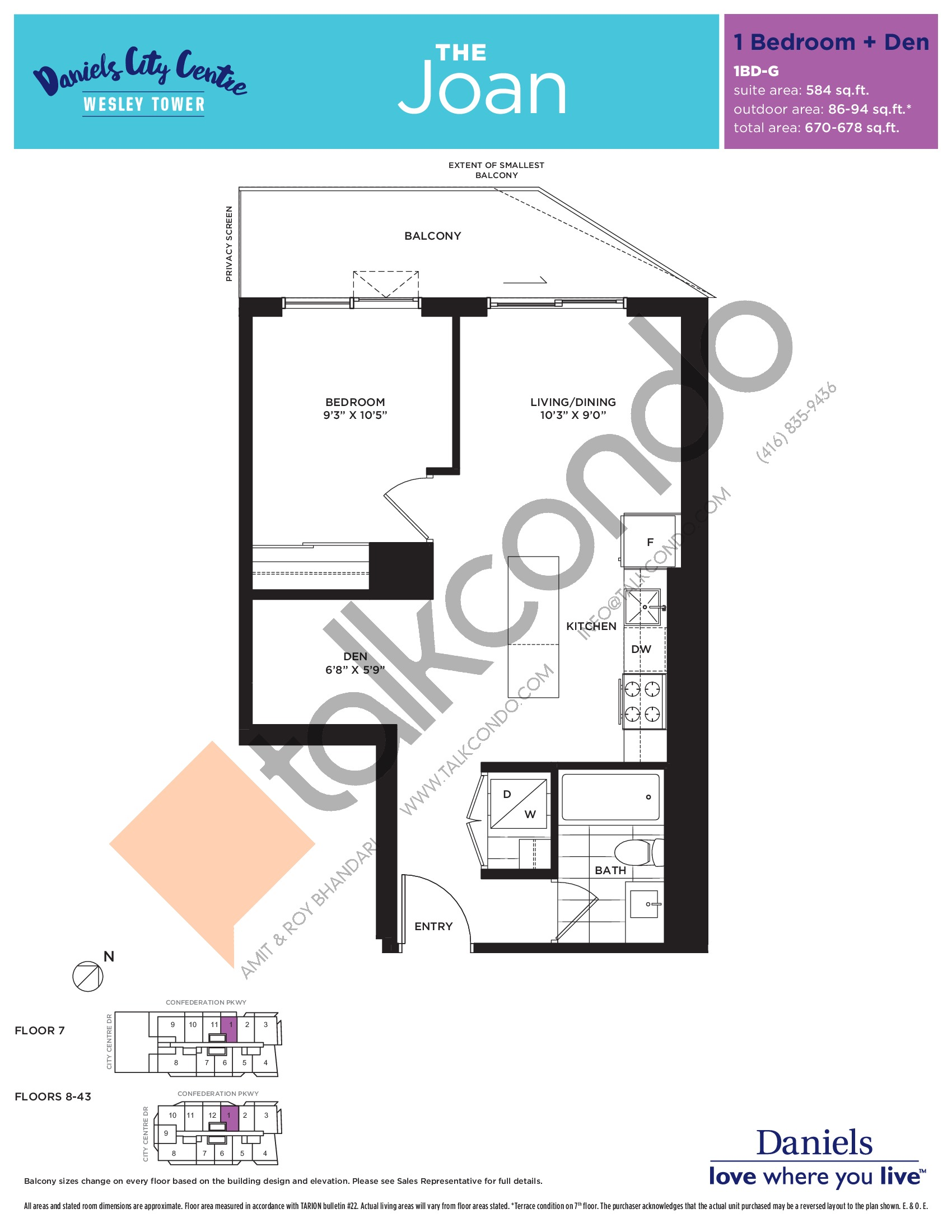 The Joan Floor Plan at The Wesley Tower at Daniels City Centre Condos - 584 sq.ft
