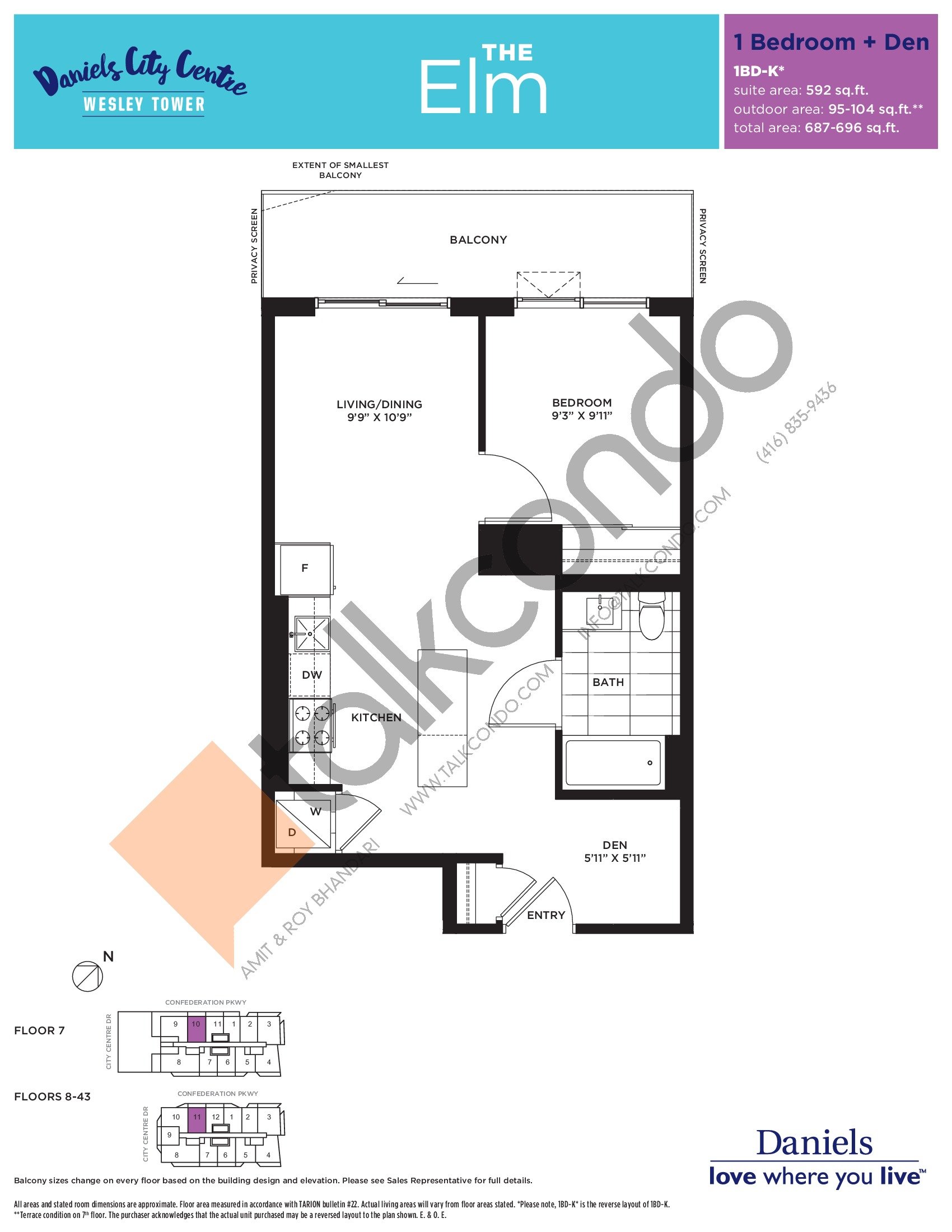 The Elm Floor Plan at The Wesley Tower at Daniels City Centre Condos - 592 sq.ft