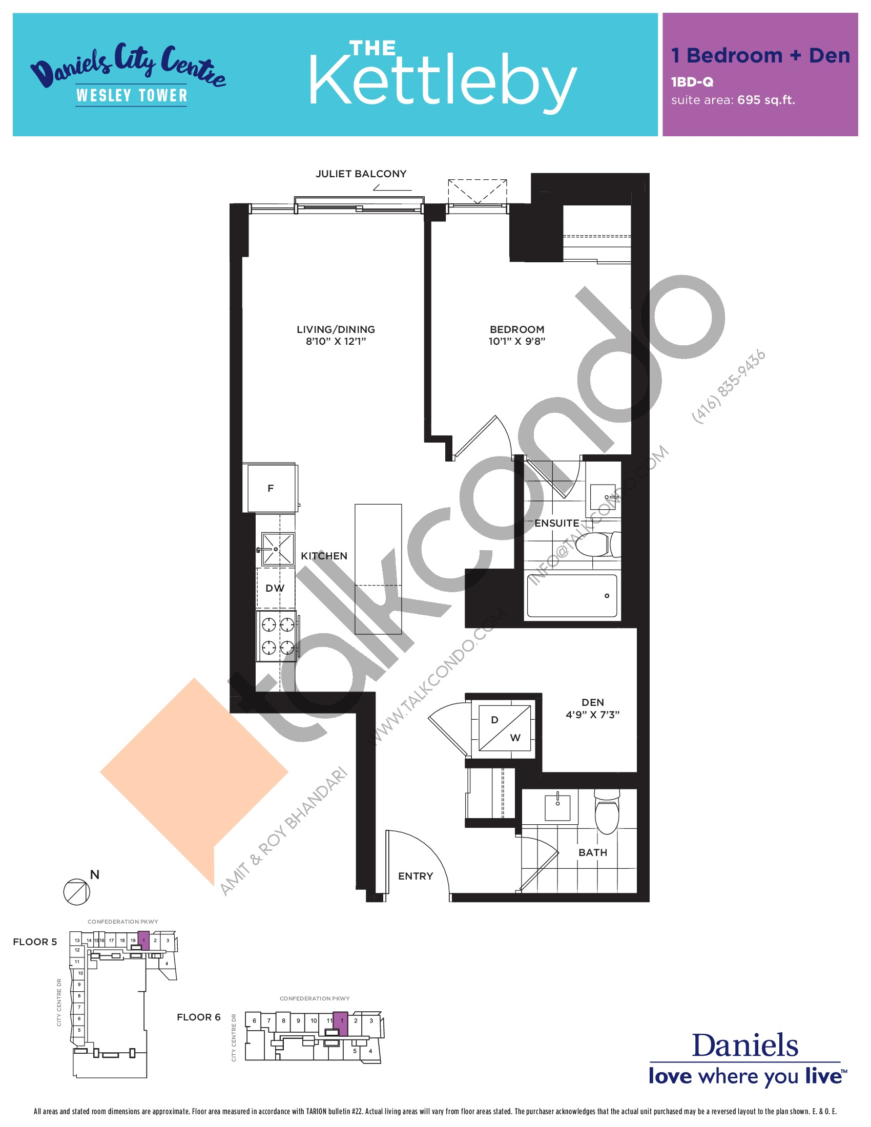 The Kettleby Floor Plan at The Wesley Tower at Daniels City Centre Condos - 695 sq.ft