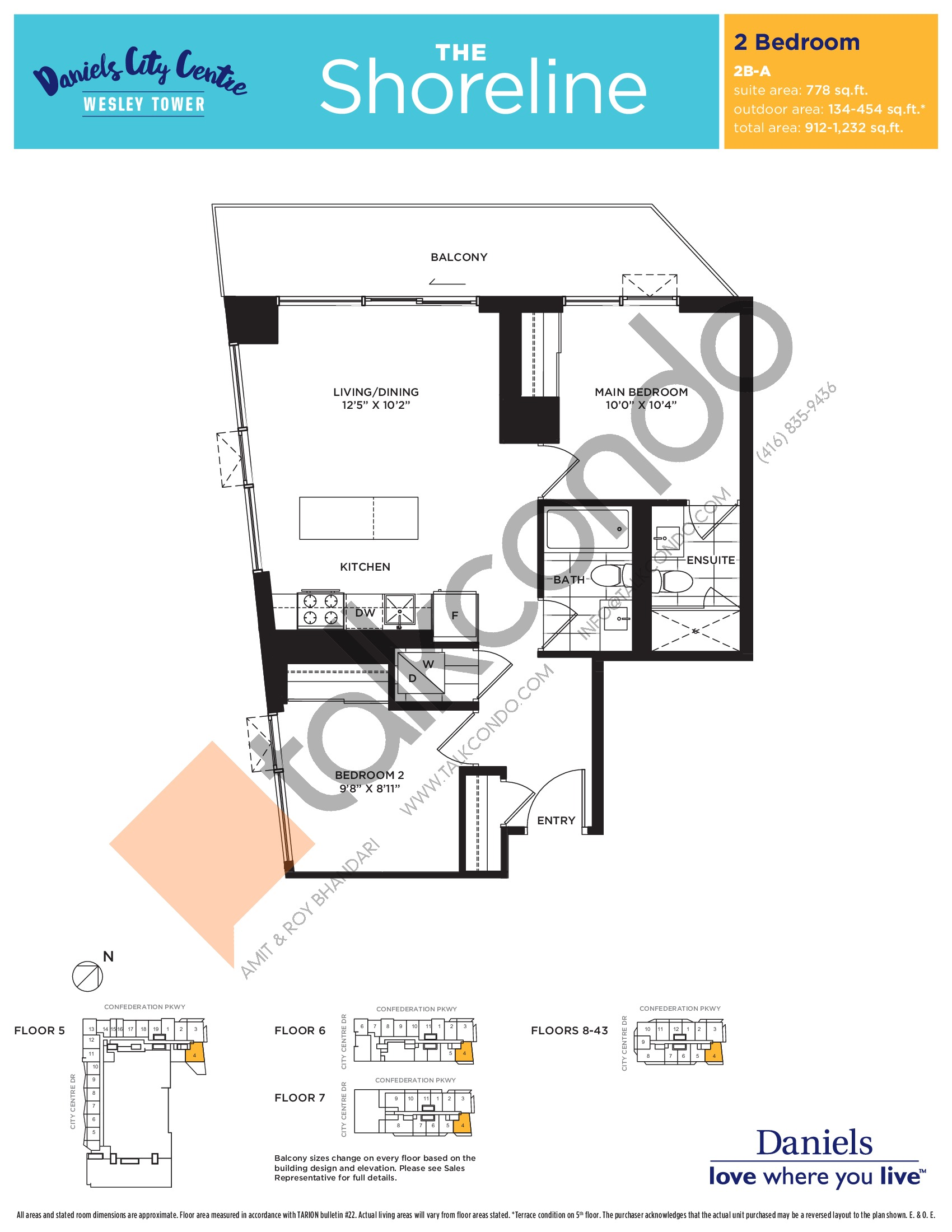 The Shoreline Floor Plan at The Wesley Tower at Daniels City Centre Condos - 778 sq.ft