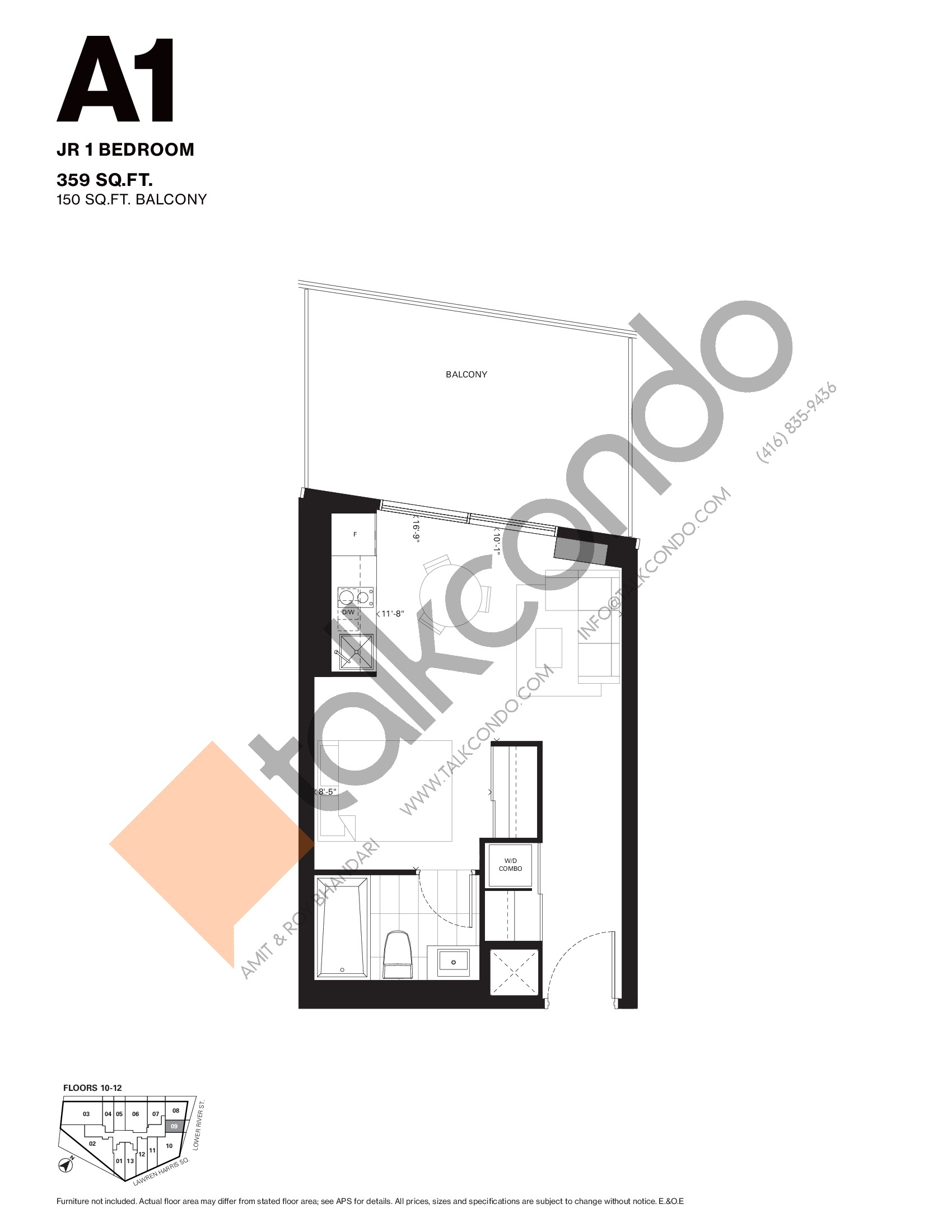 A1 Floor Plan at Harris Square Condos - 359 sq.ft