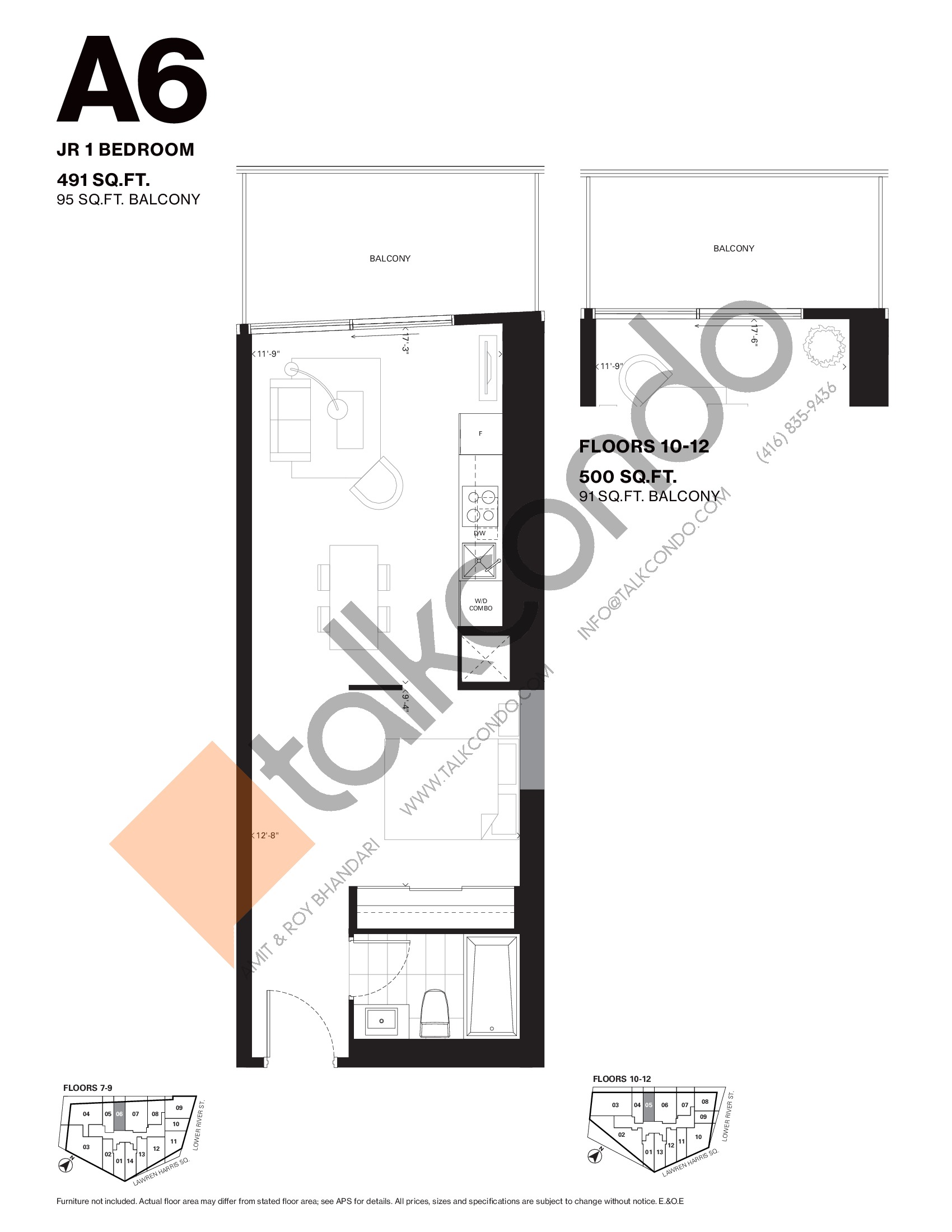 A6 Floor Plan at Harris Square Condos - 491 sq.ft