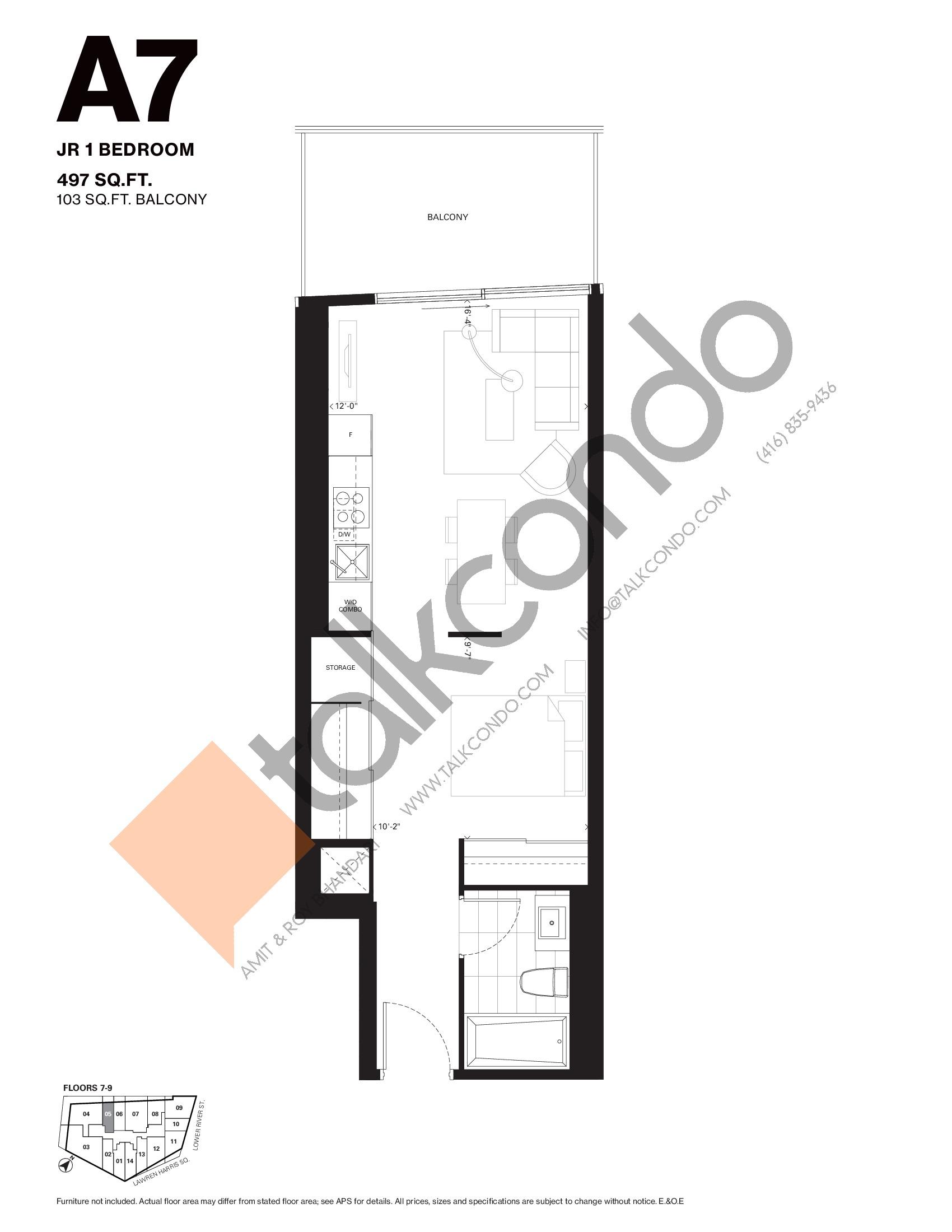 A7 Floor Plan at Harris Square Condos - 497 sq.ft