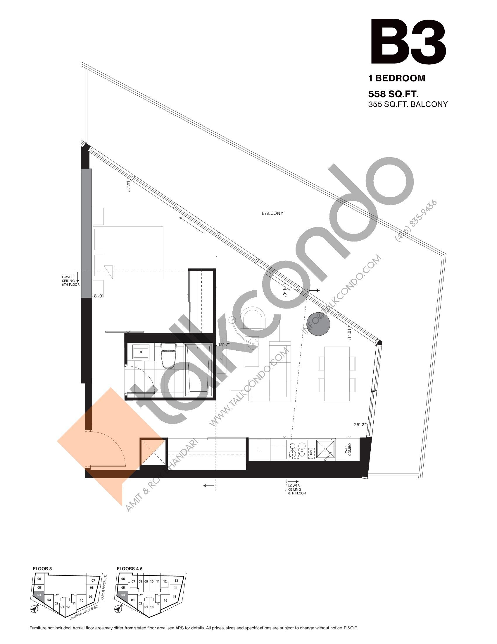 B3 Floor Plan at Harris Square Condos - 558 sq.ft