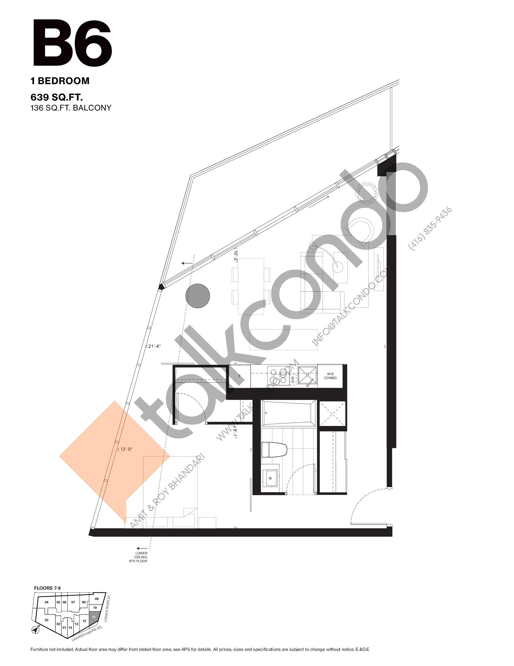 B6 Floor Plan at Harris Square Condos - 639 sq.ft