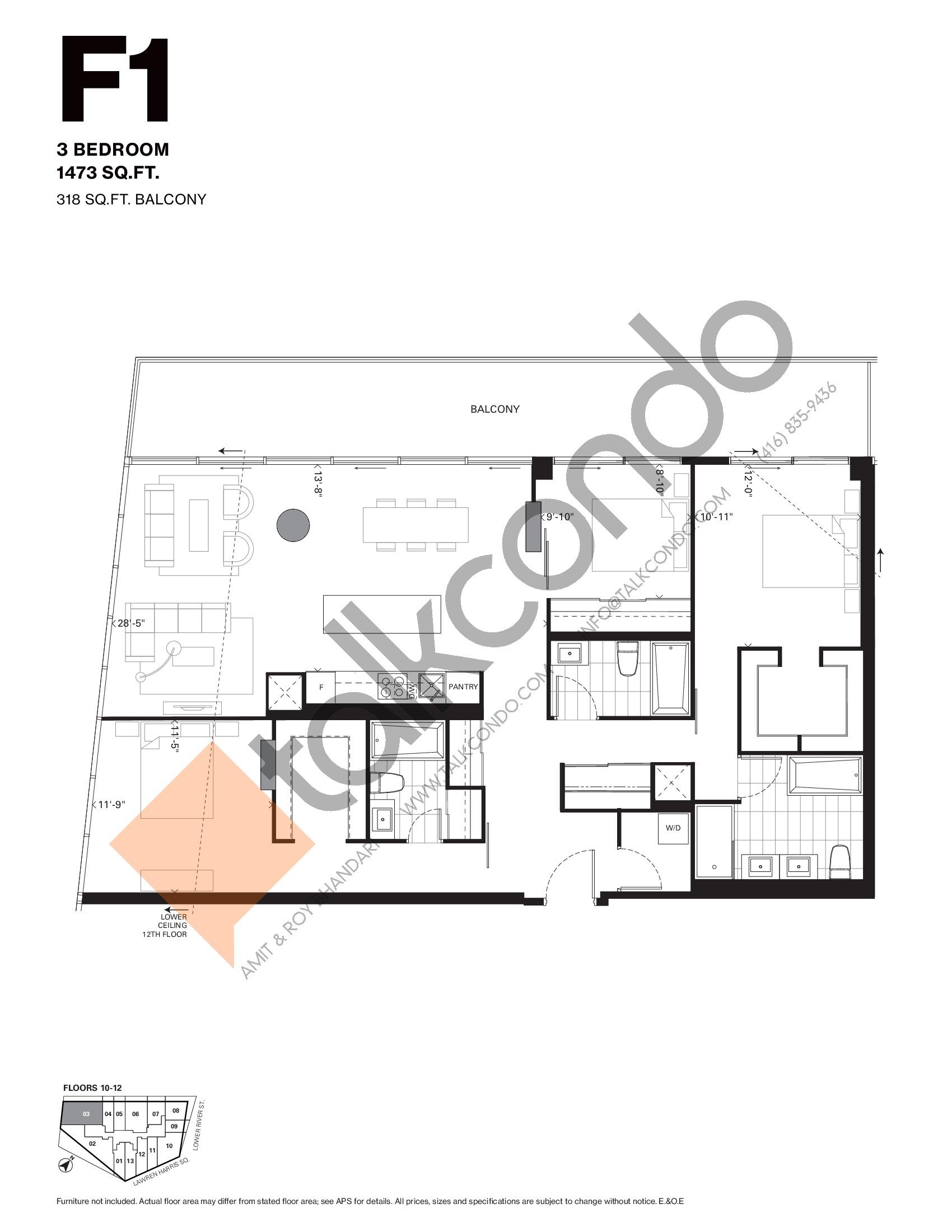 F1 Floor Plan at Harris Square Condos - 1473 sq.ft