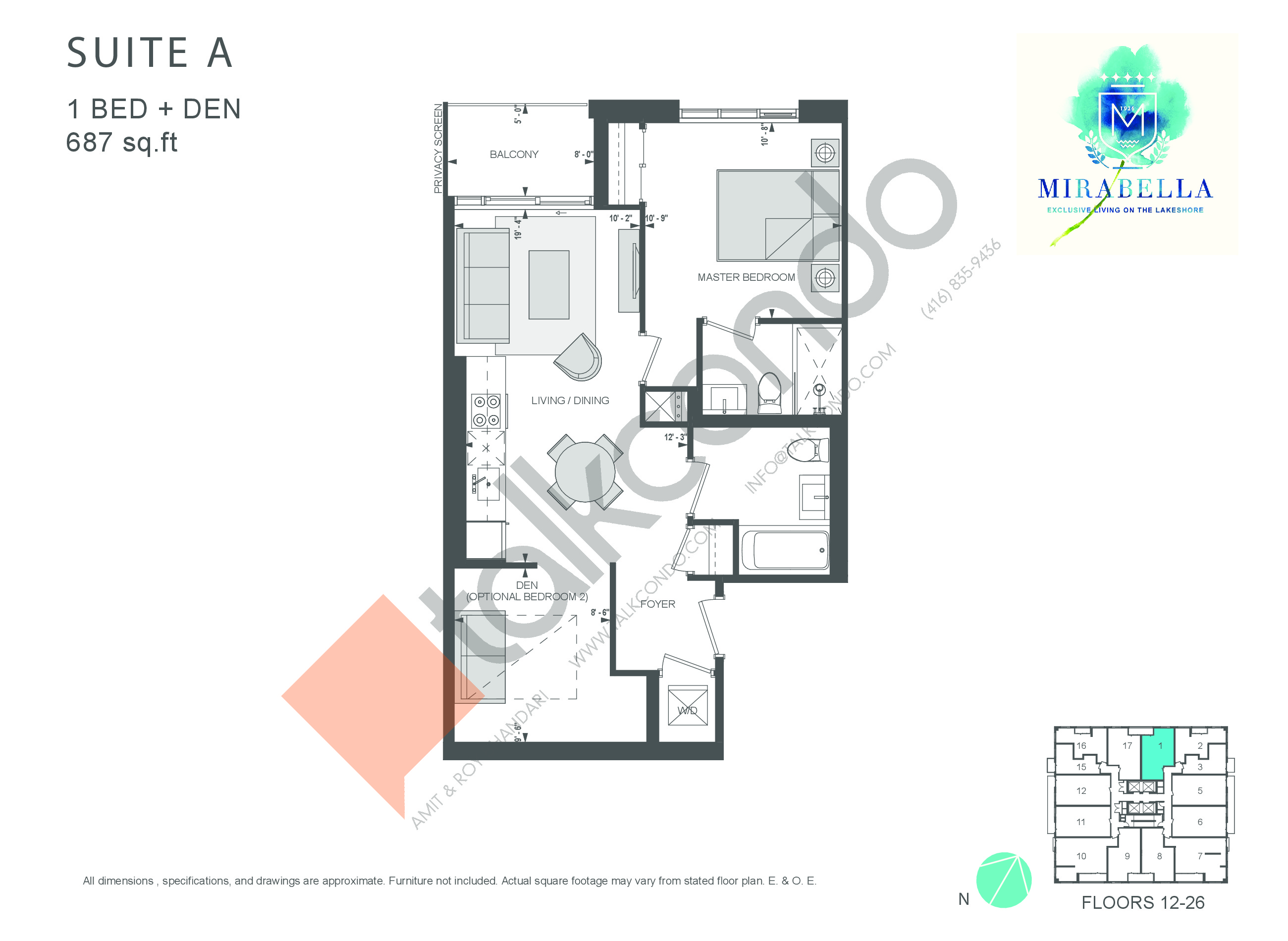 Suite A Floor Plan at Mirabella Luxury Condos East Tower - 687 sq.ft
