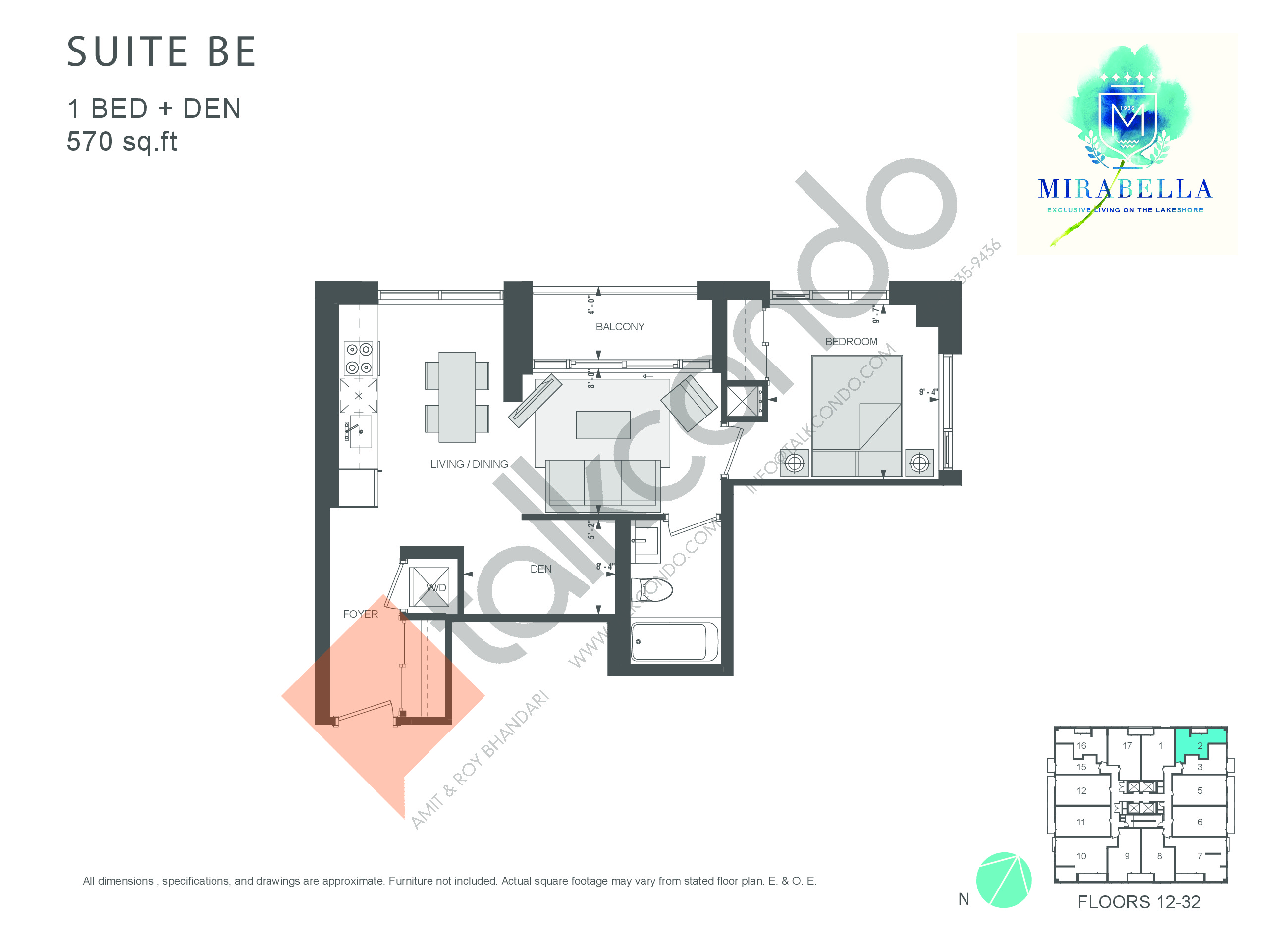 Suite BE Floor Plan at Mirabella Luxury Condos East Tower - 570 sq.ft