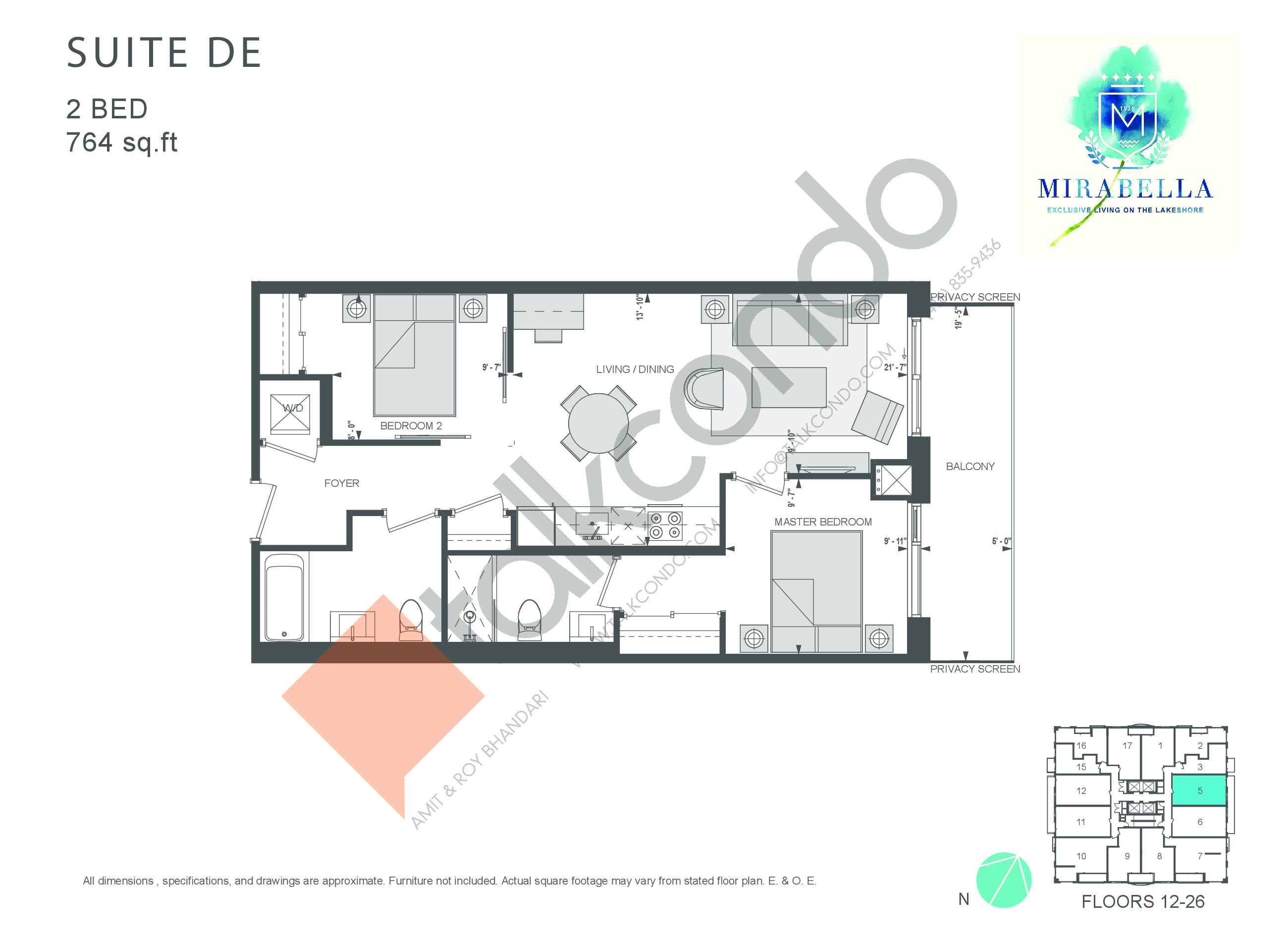 Suite DE Floor Plan at Mirabella Luxury Condos East Tower - 764 sq.ft