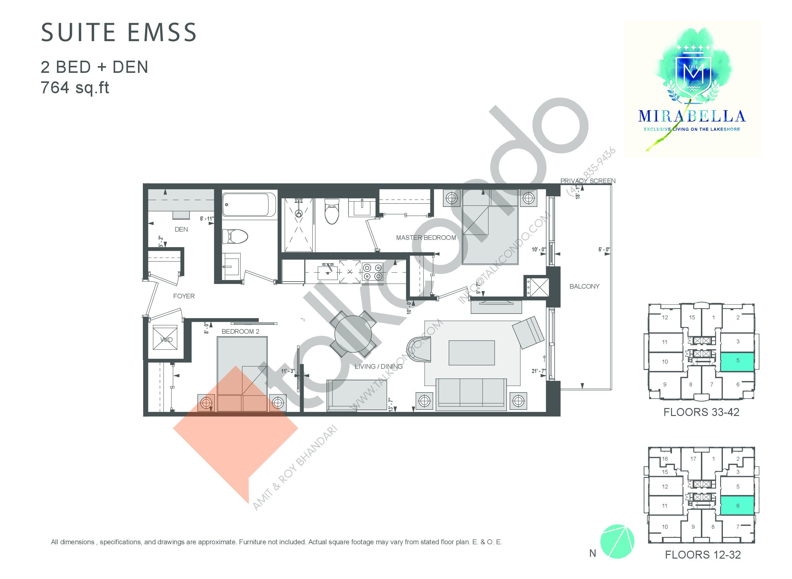Suite EMSS Floor Plan at Mirabella Luxury Condos East Tower - 764 sq.ft
