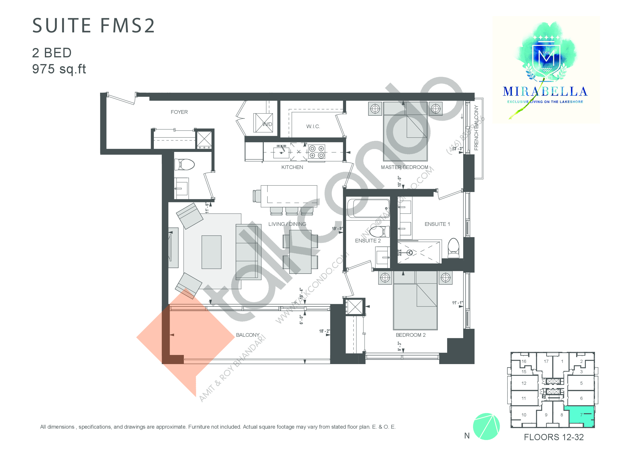 Suite FMS2 Floor Plan at Mirabella Luxury Condos East Tower - 975 sq.ft