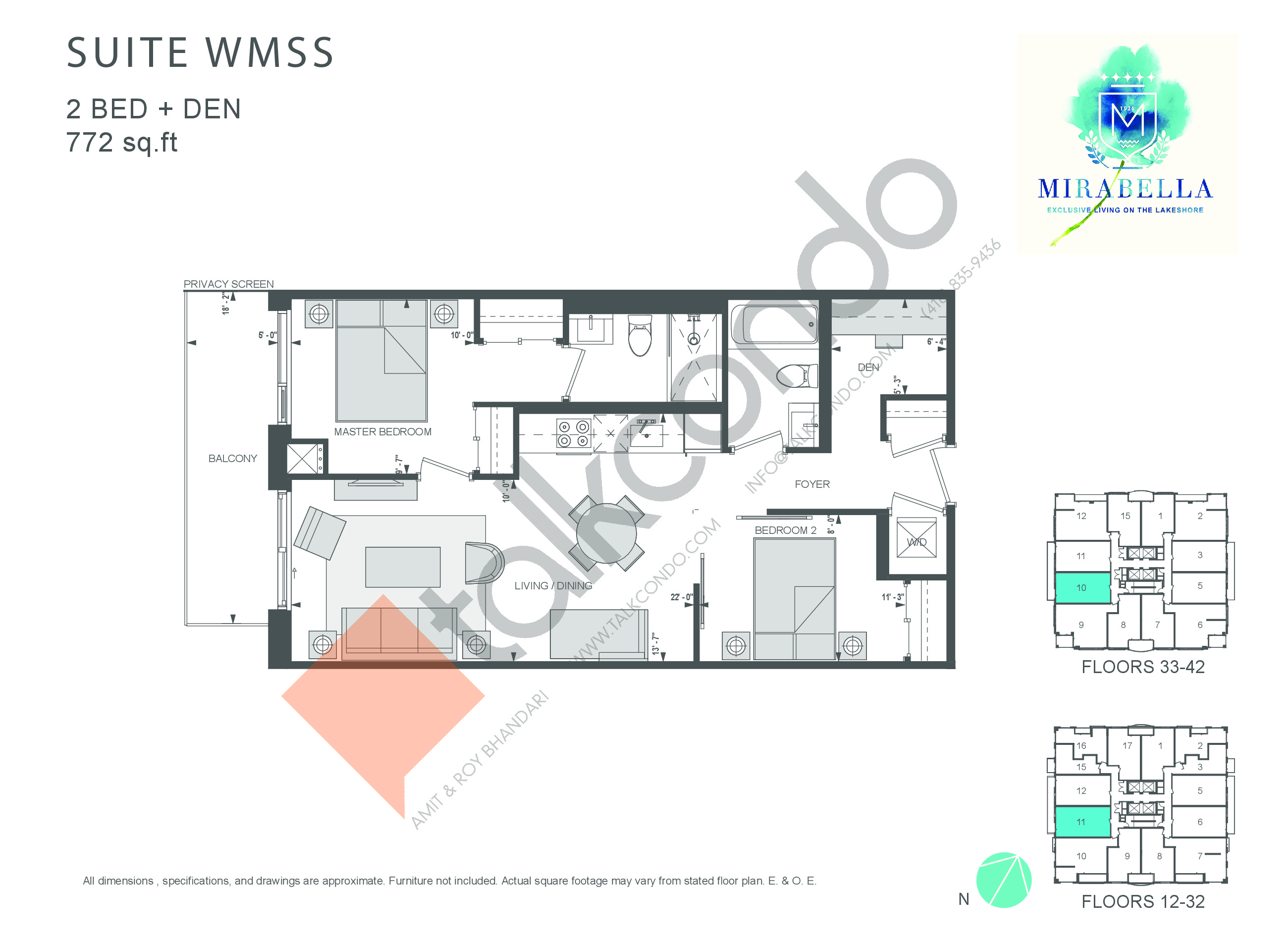 Suite WMSS Floor Plan at Mirabella Luxury Condos East Tower - 772 sq.ft