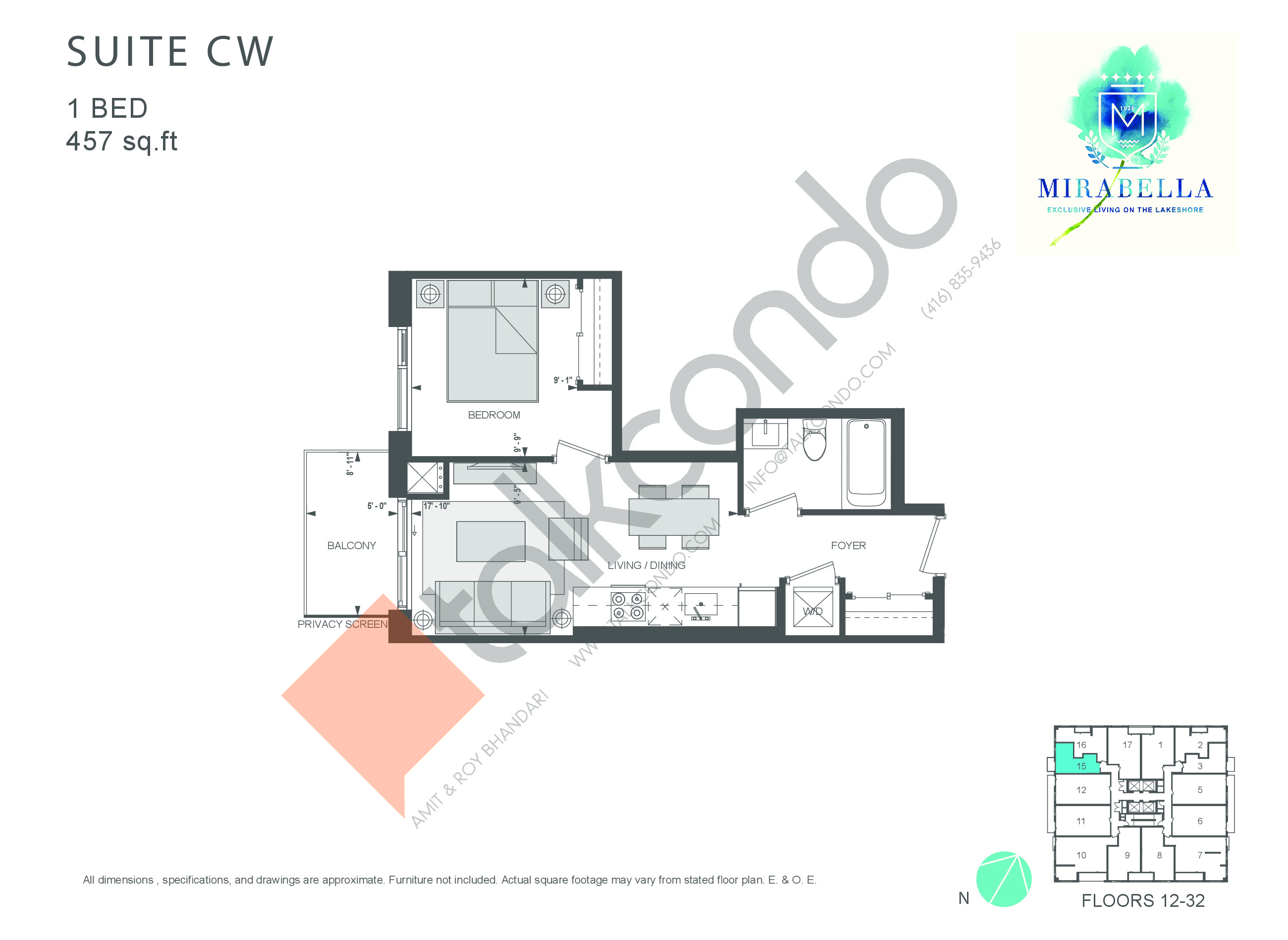 Suite CW Floor Plan at Mirabella Luxury Condos East Tower - 457 sq.ft