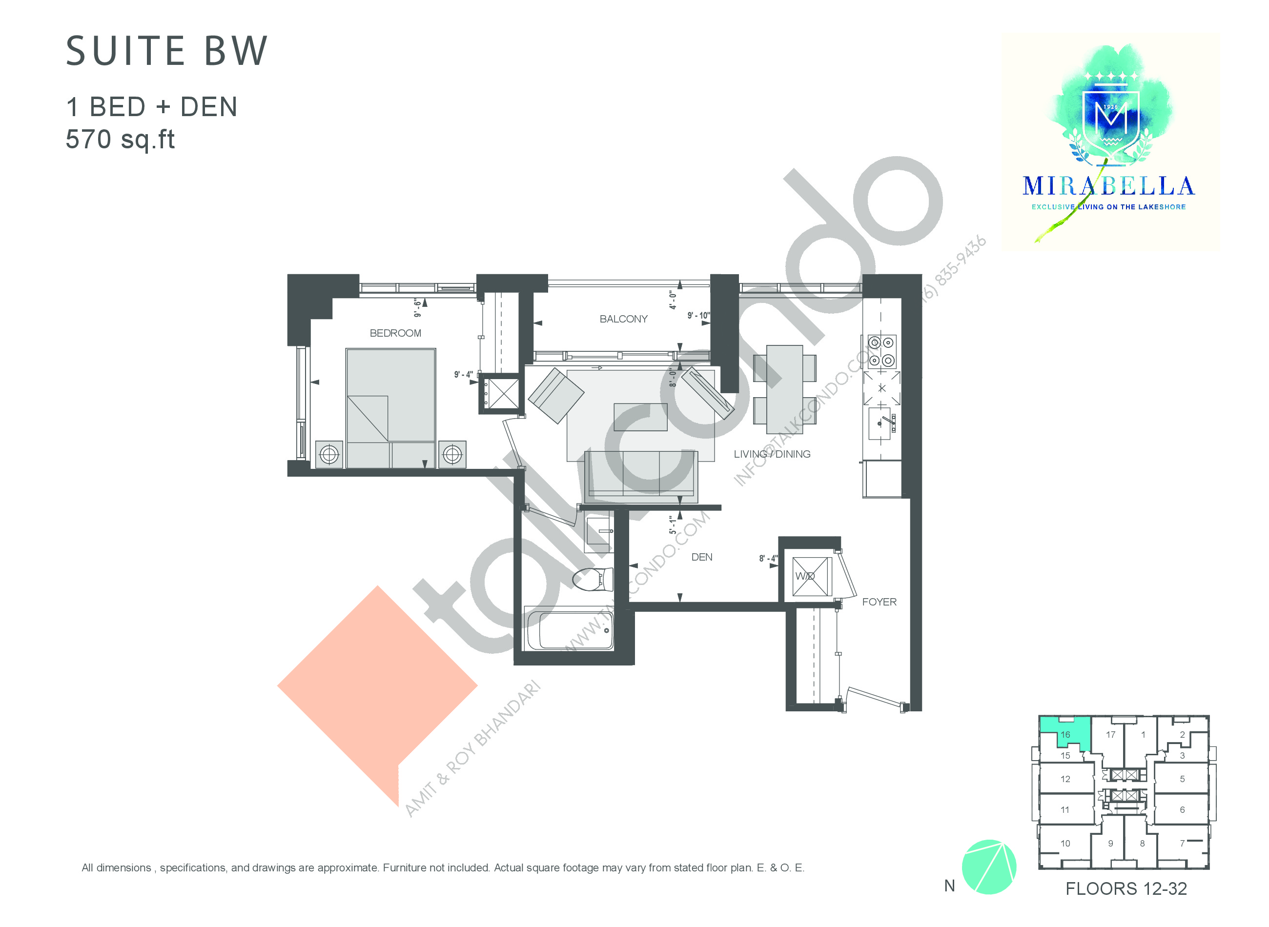 Suite BW Floor Plan at Mirabella Luxury Condos East Tower - 570 sq.ft