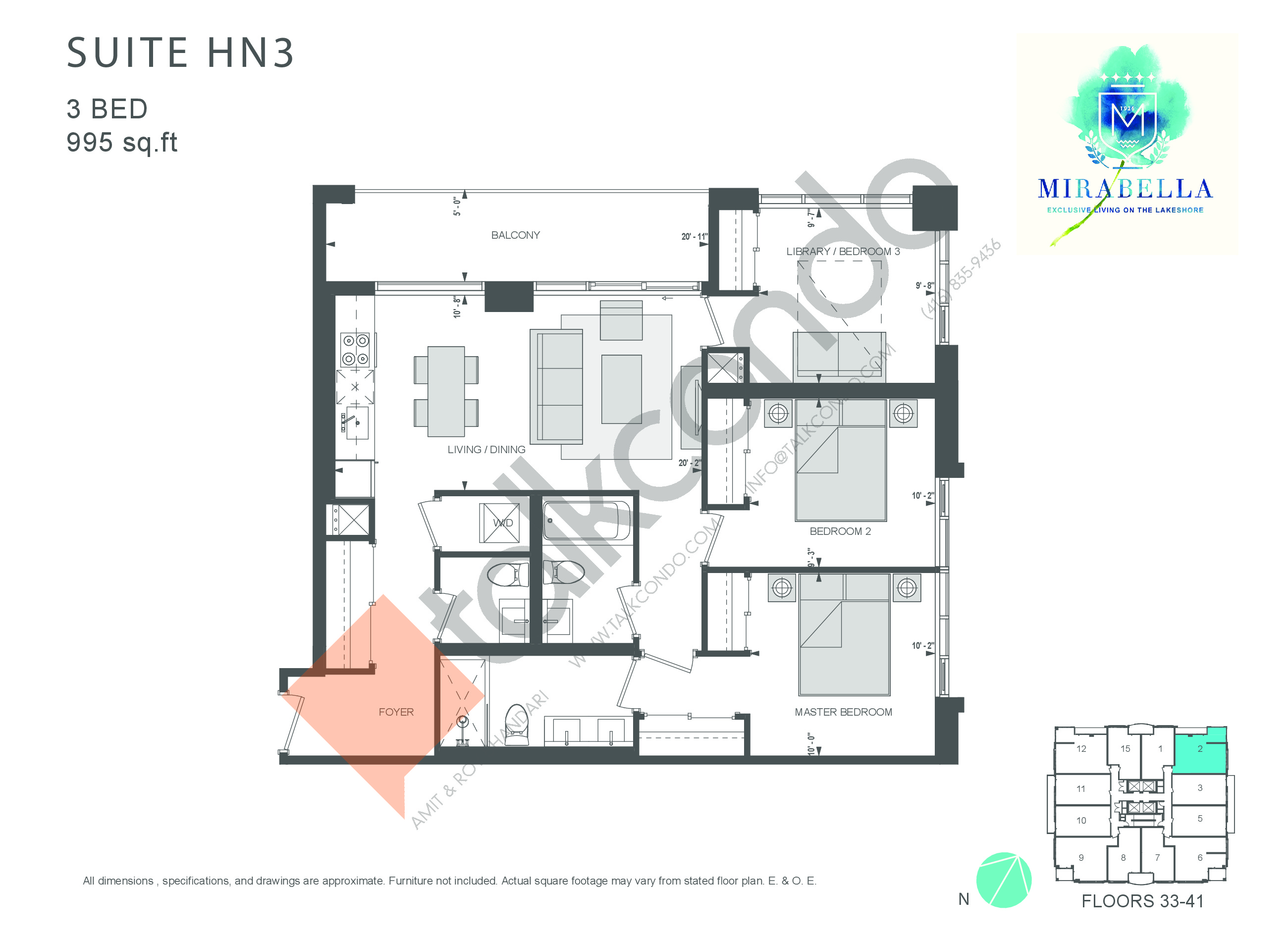 Suite HN3 Floor Plan at Mirabella Luxury Condos East Tower - 995 sq.ft