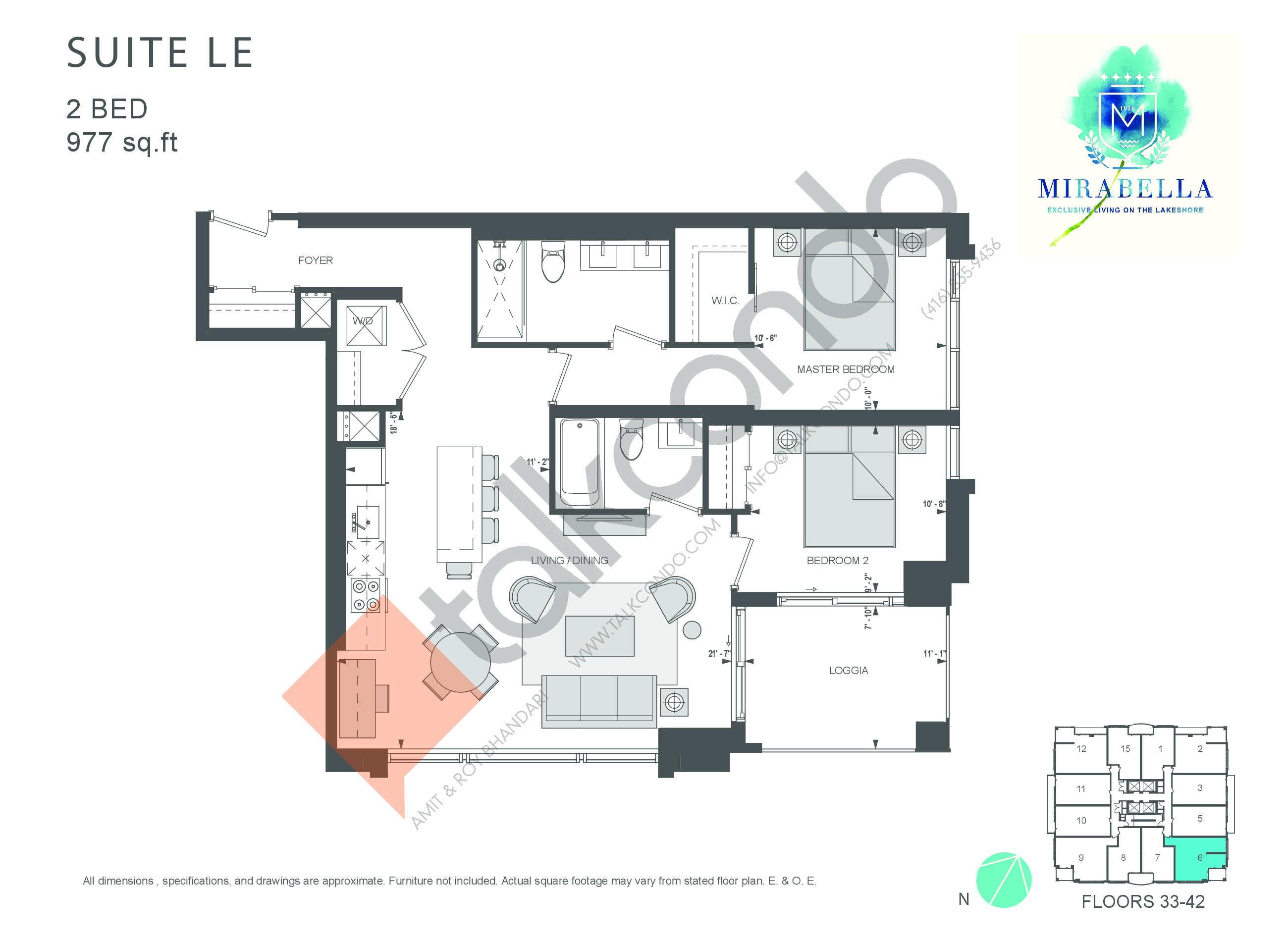 Suite LE Floor Plan at Mirabella Luxury Condos East Tower - 977 sq.ft