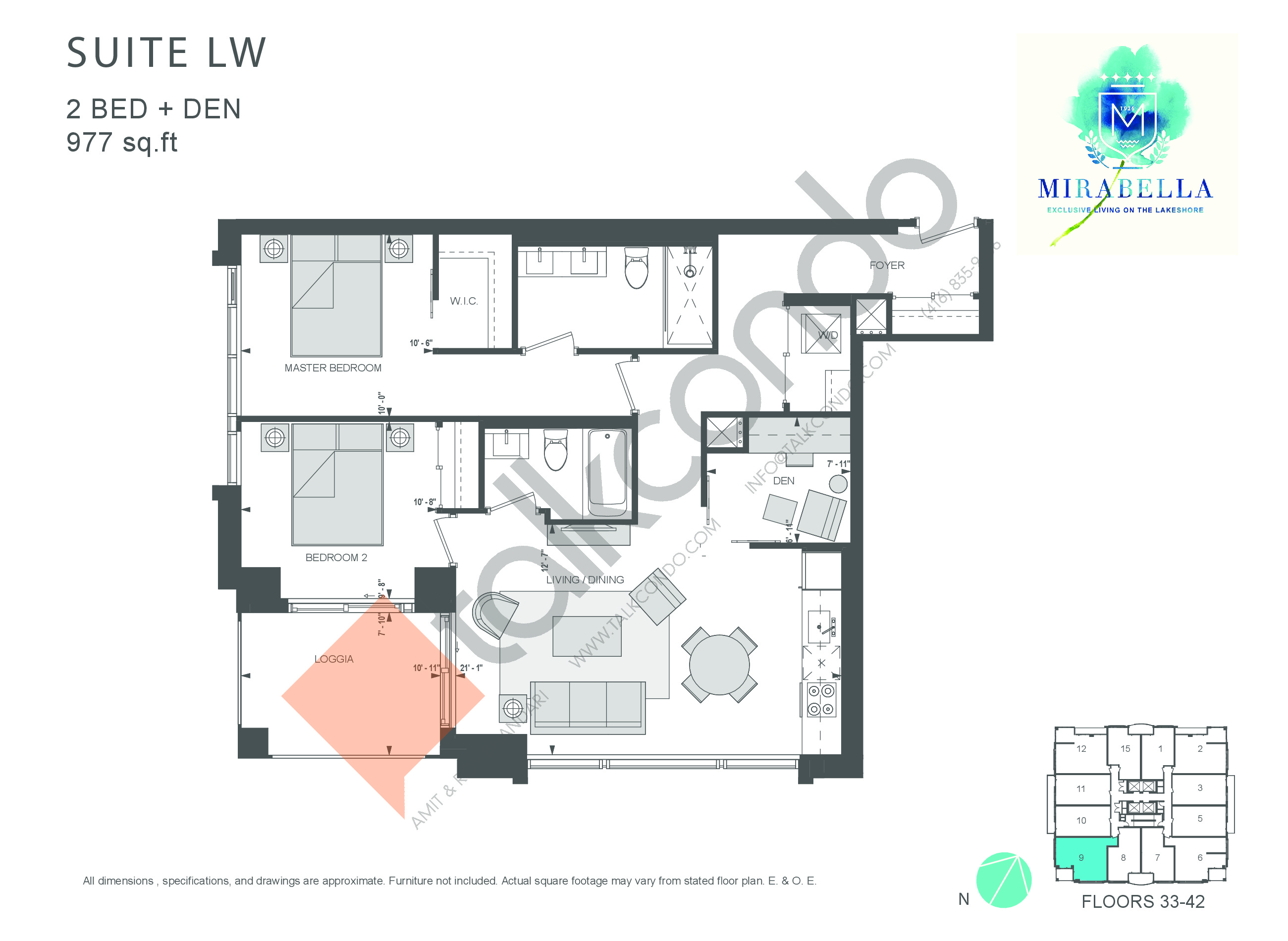 Suite LW Floor Plan at Mirabella Luxury Condos East Tower - 977 sq.ft