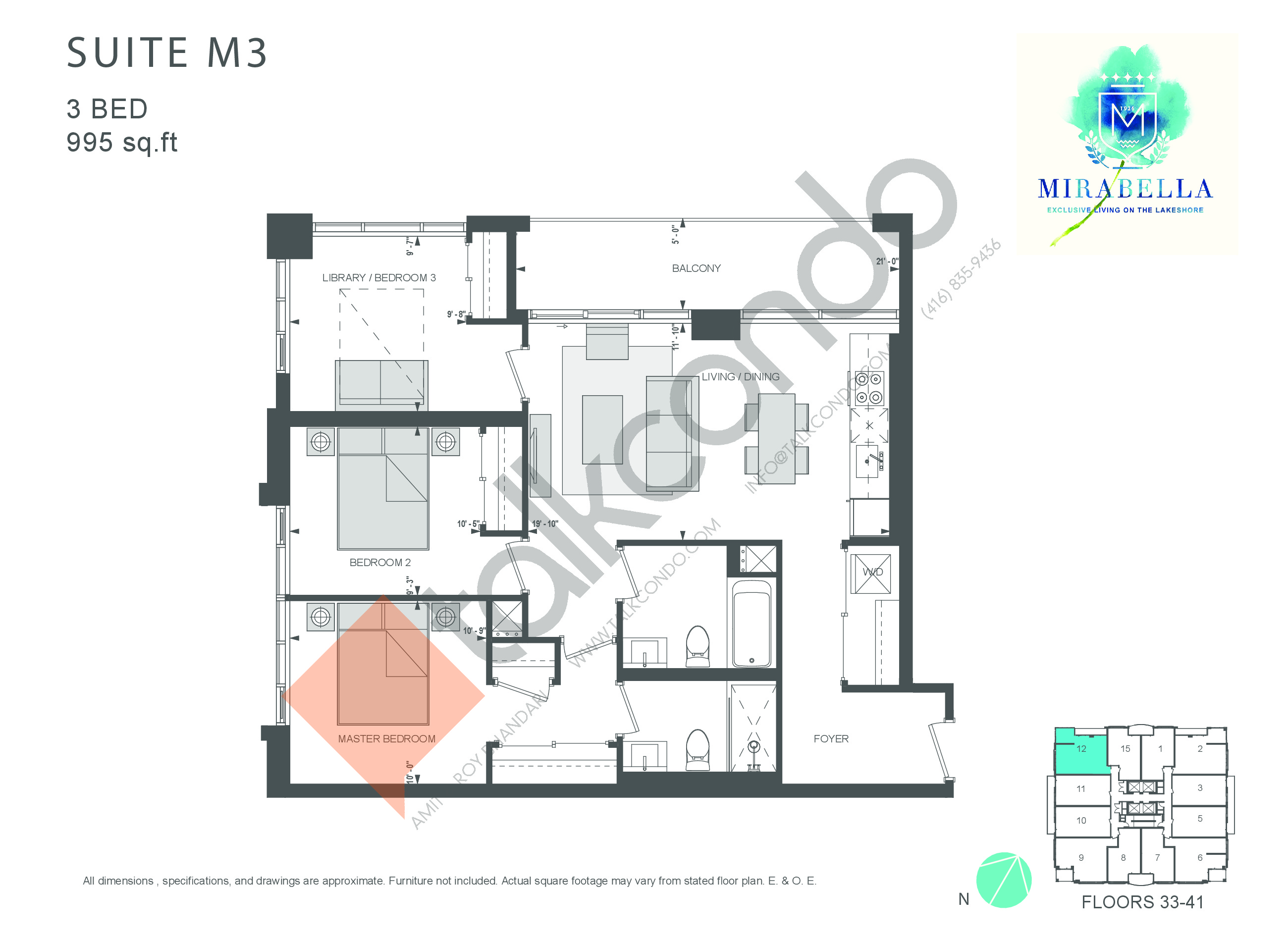 Suite M3 Floor Plan at Mirabella Luxury Condos East Tower - 995 sq.ft