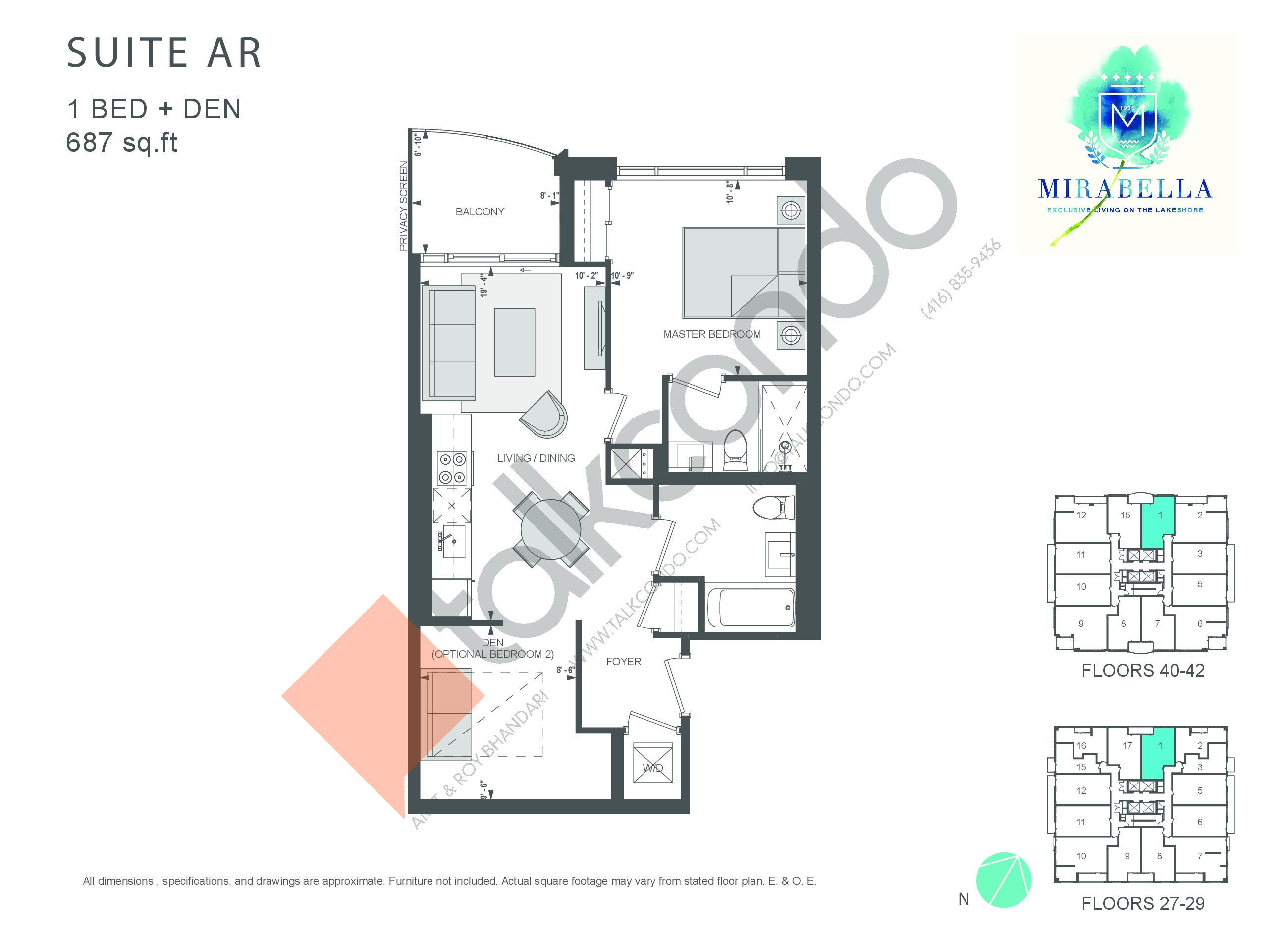 Suite AR Floor Plan at Mirabella Luxury Condos East Tower - 687 sq.ft
