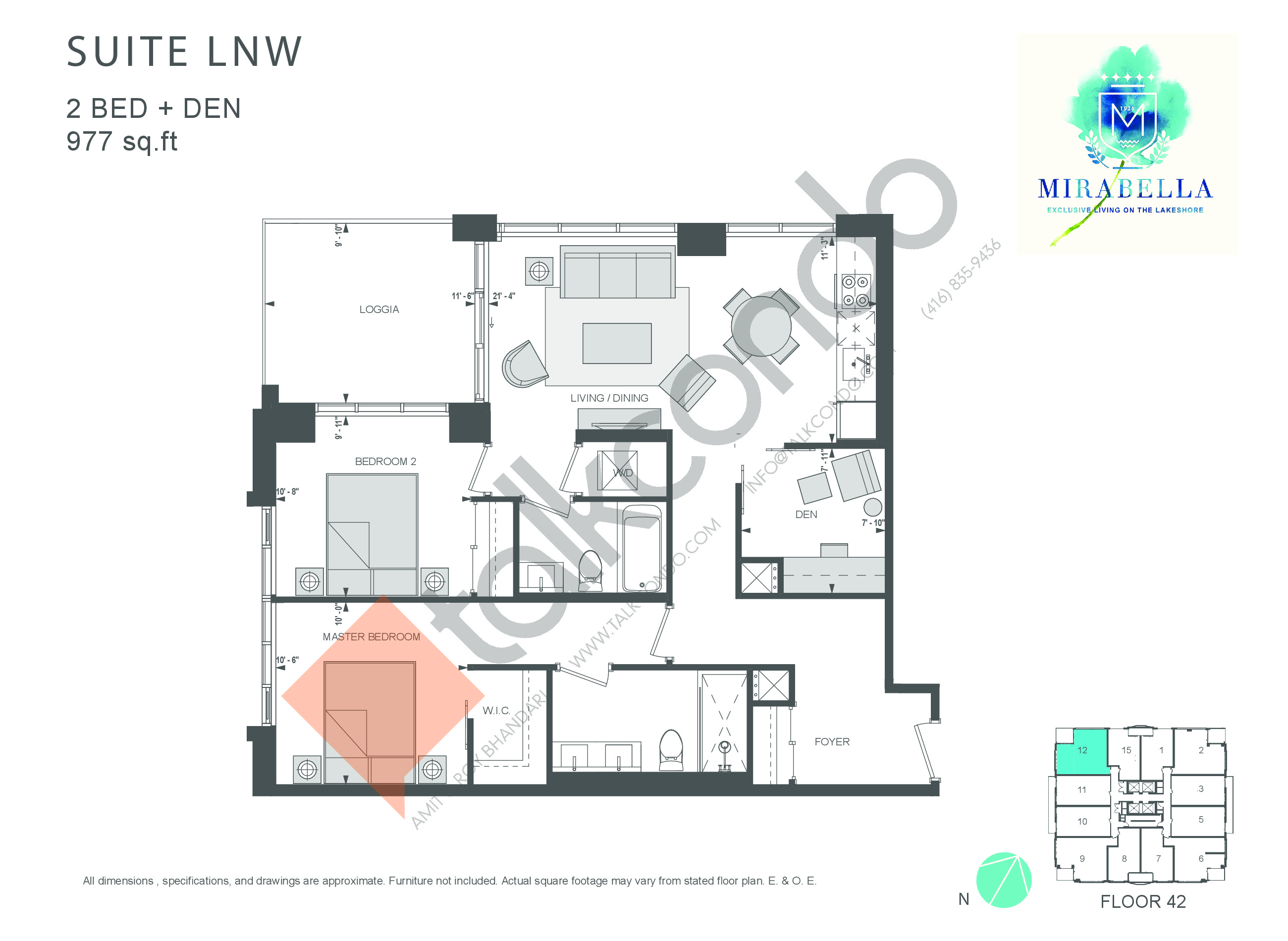 Suite LNW Floor Plan at Mirabella Luxury Condos East Tower - 977 sq.ft