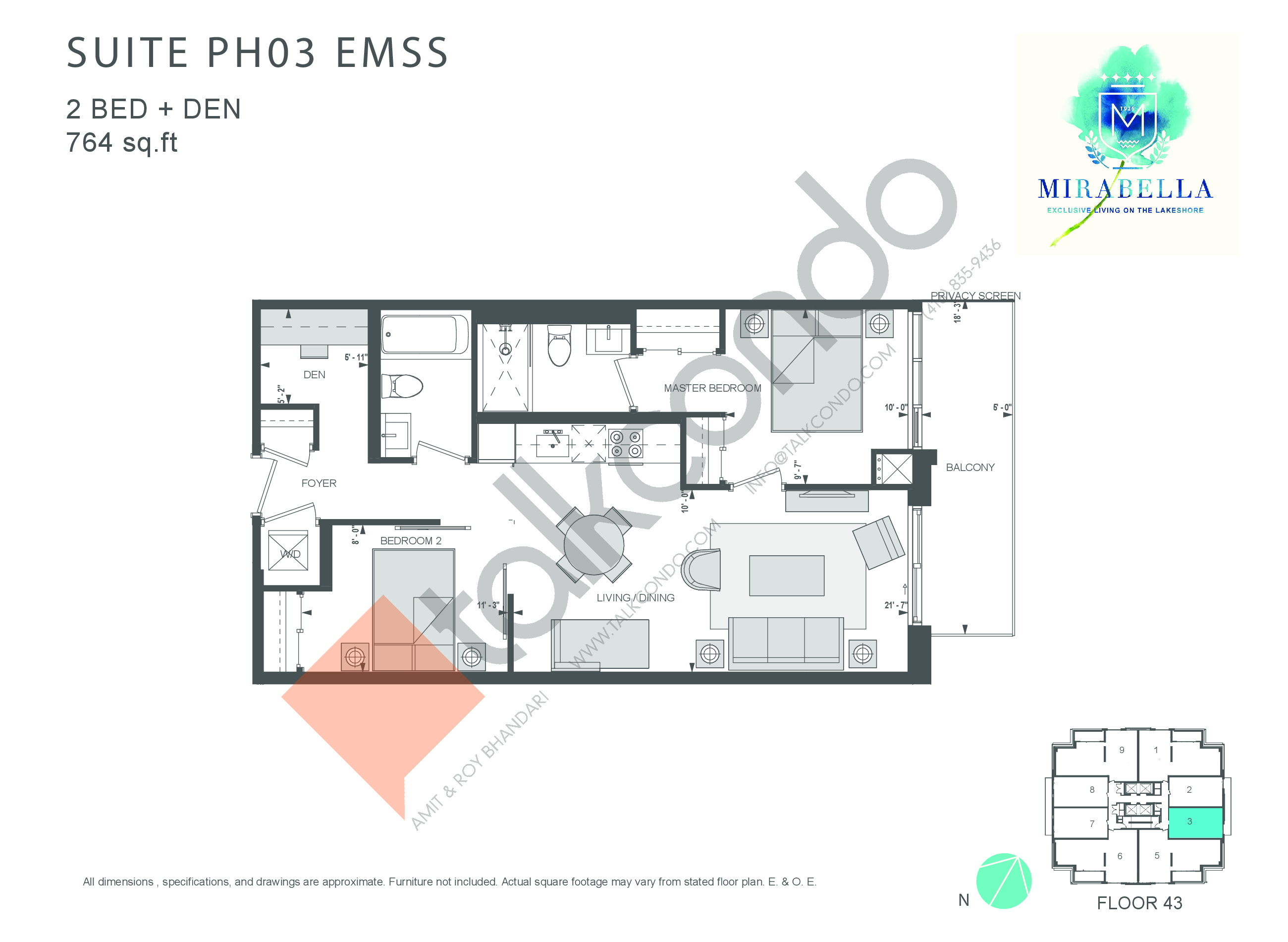 Suite PH03 EMSS Floor Plan at Mirabella Luxury Condos East Tower - 764 sq.ft