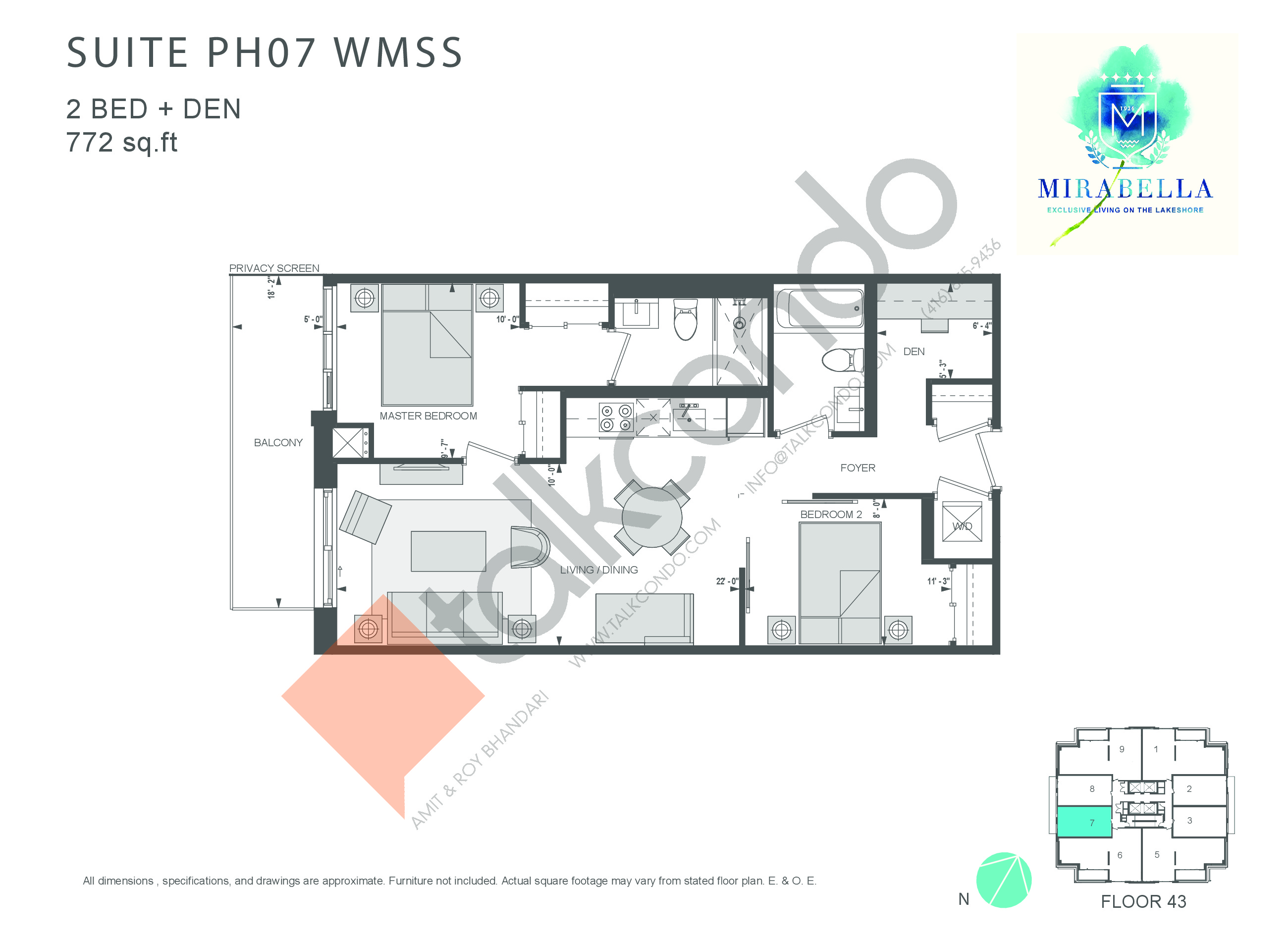 Suite PH07 WMSS Floor Plan at Mirabella Luxury Condos East Tower - 772 sq.ft