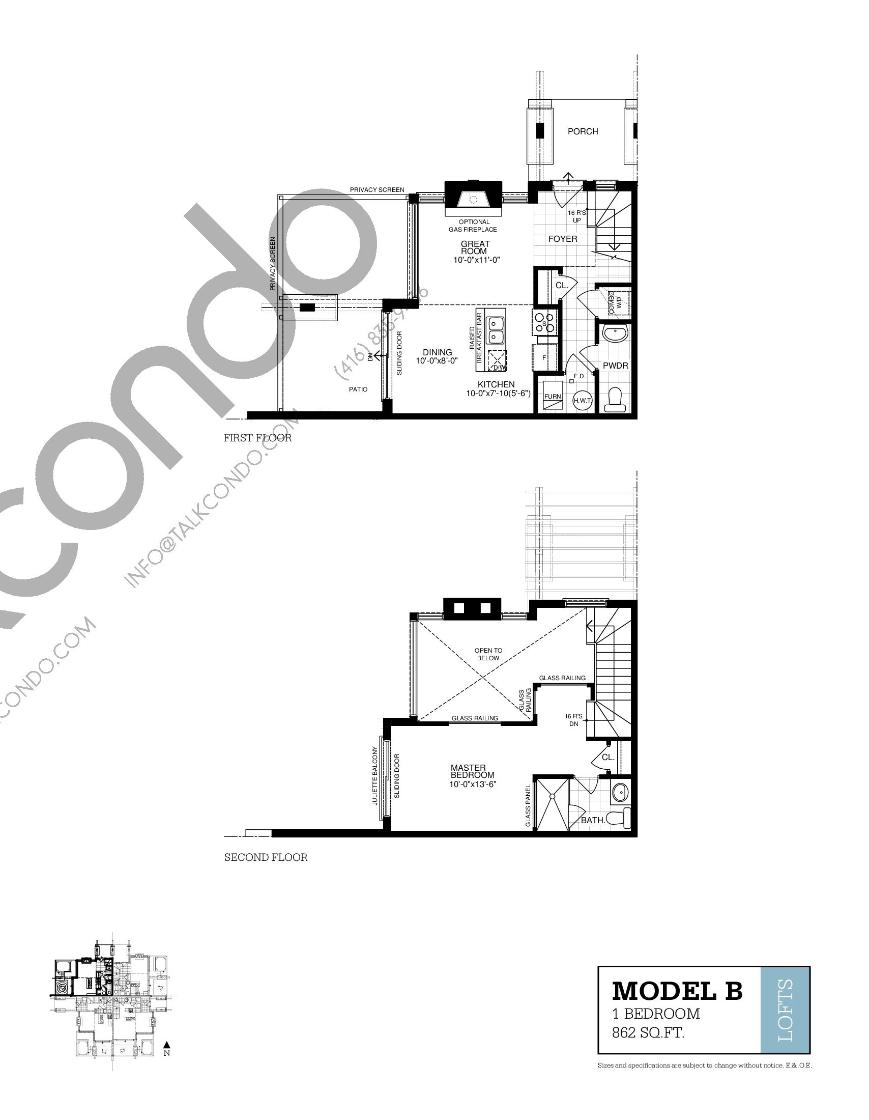Loft B Floor Plan at Muskoka Bay Resort - 862 sq.ft