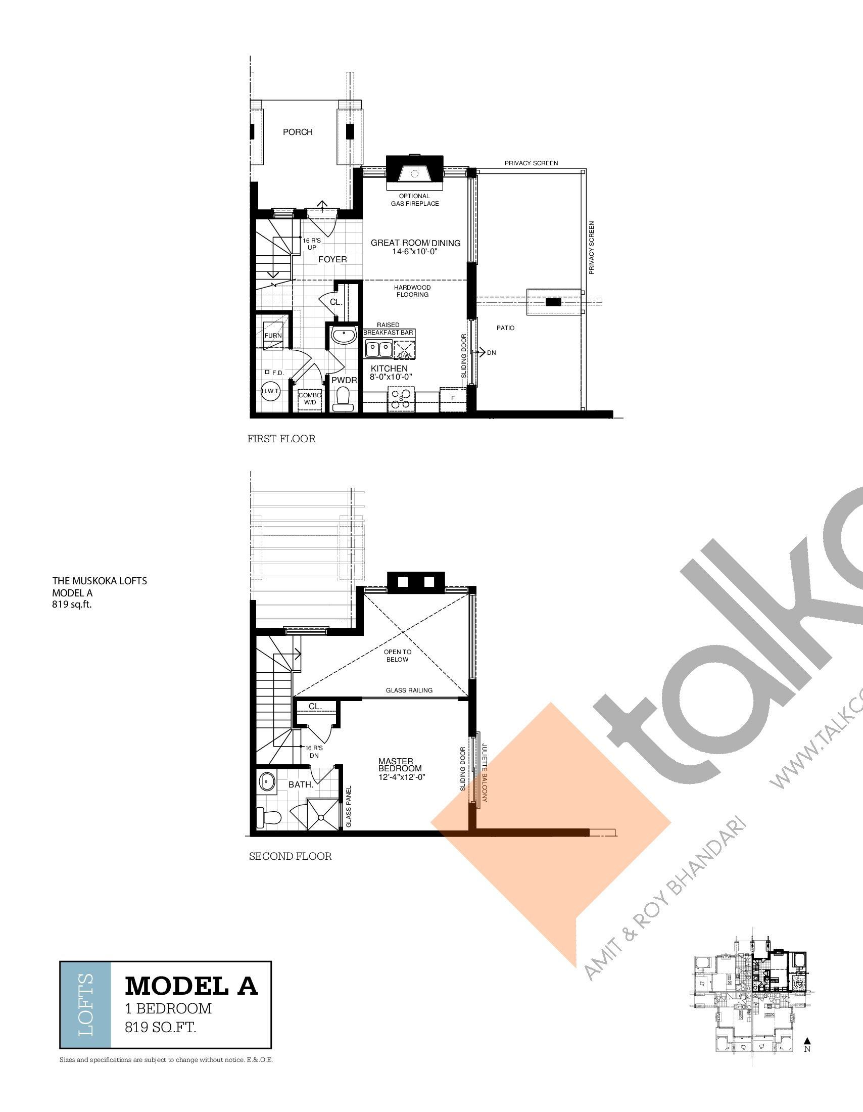 Loft A Floor Plan at Muskoka Bay Resort - 819 sq.ft