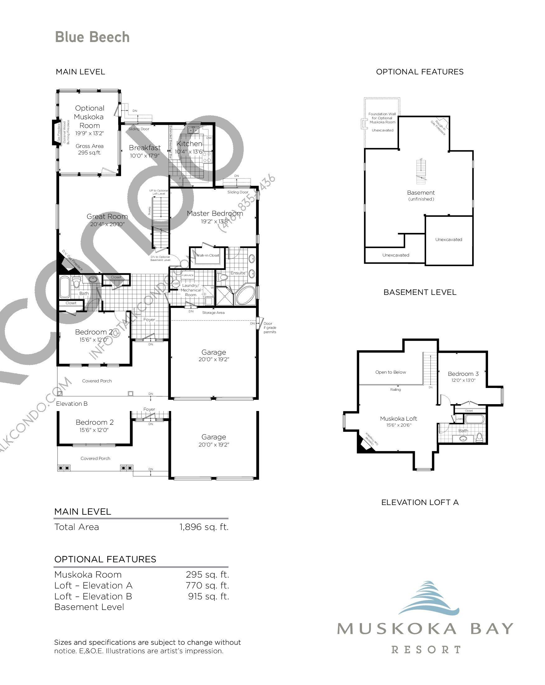 Blue Beech Floor Plan at Muskoka Bay Resort - 3106 sq.ft