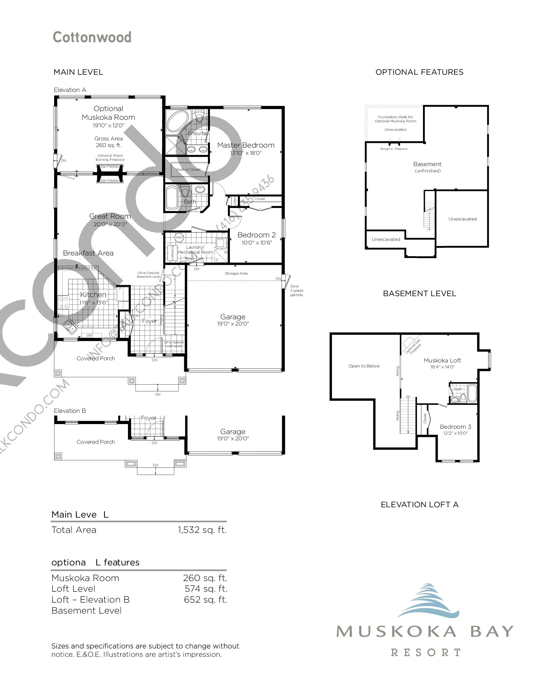 Cottonwood Floor Plan at Muskoka Bay Resort - 2444 sq.ft