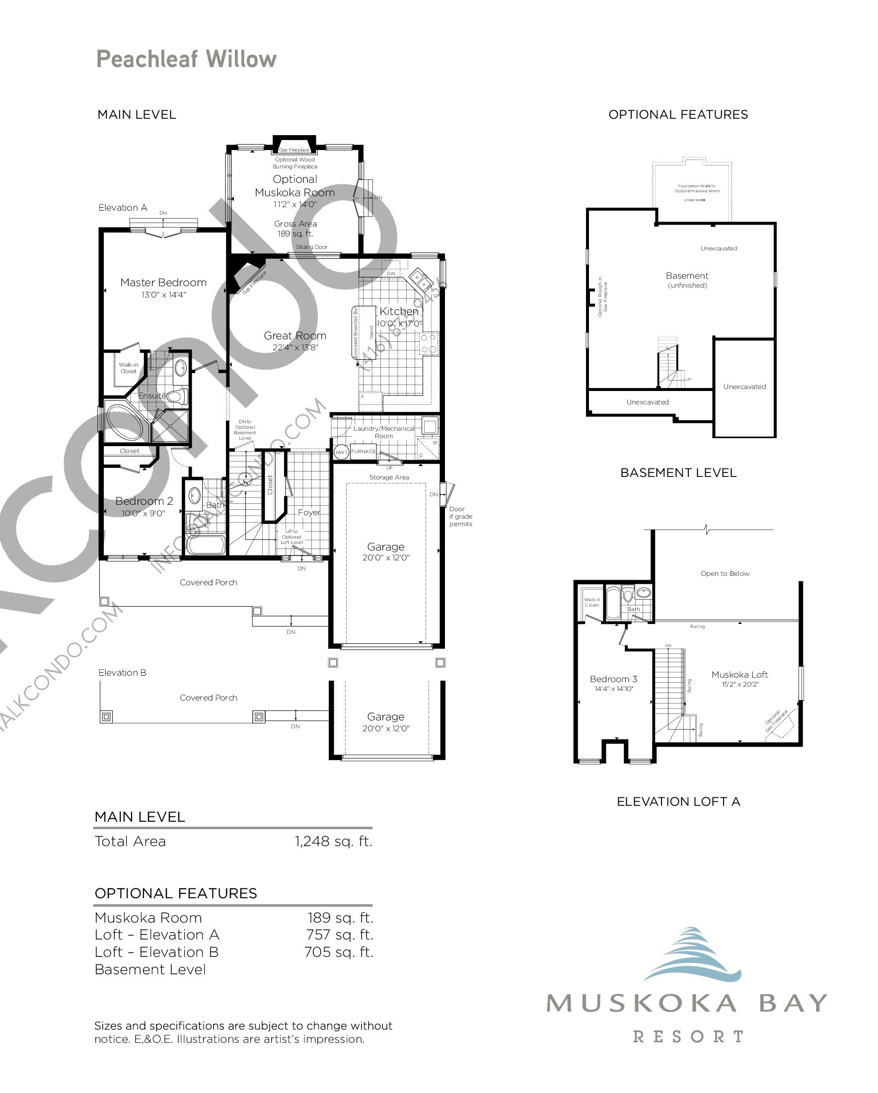 Peachleaf Willow Floor Plan at Muskoka Bay Resort - 2194 sq.ft