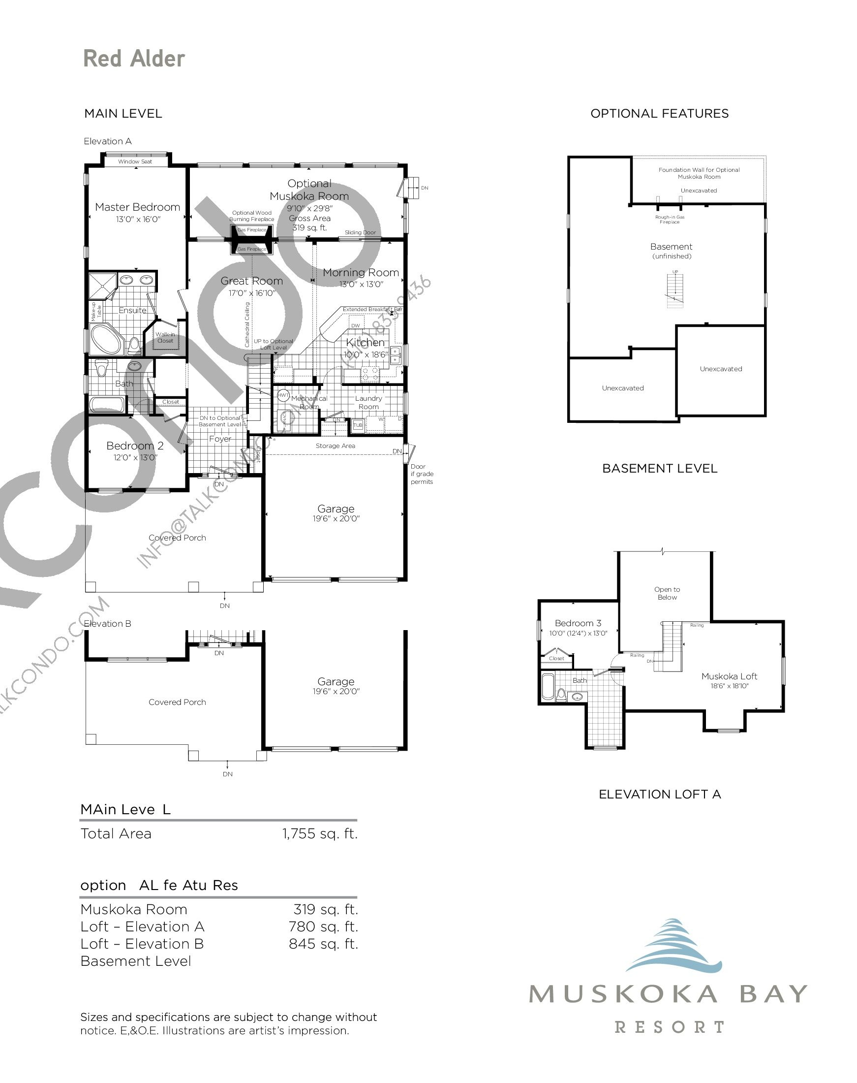 Red Alder Floor Plan at Muskoka Bay Resort - 2919 sq.ft