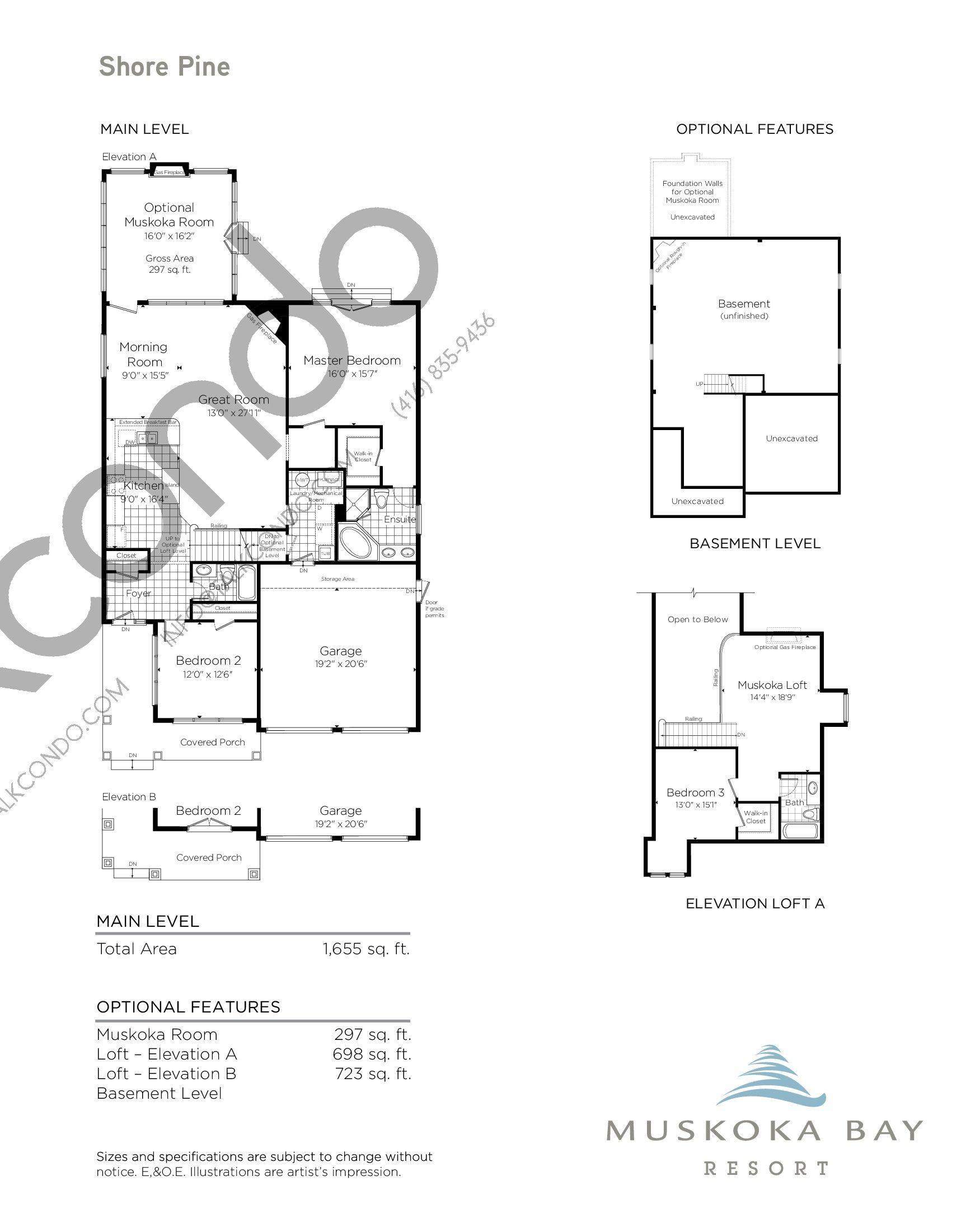 Shore Pine Floor Plan at Muskoka Bay Resort - 2675 sq.ft