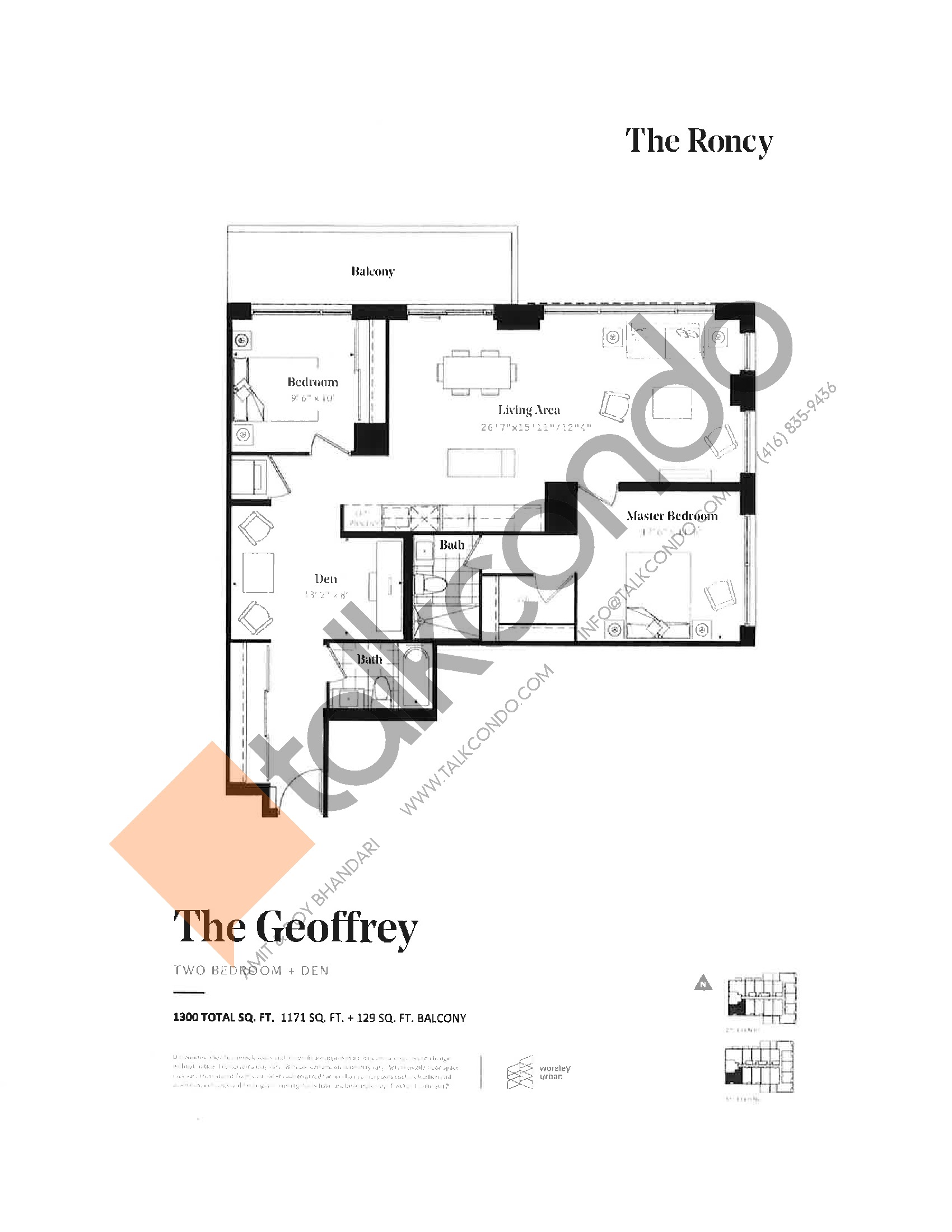 The Geoffrey Floor Plan at The Roncy Condos - 1171 sq.ft