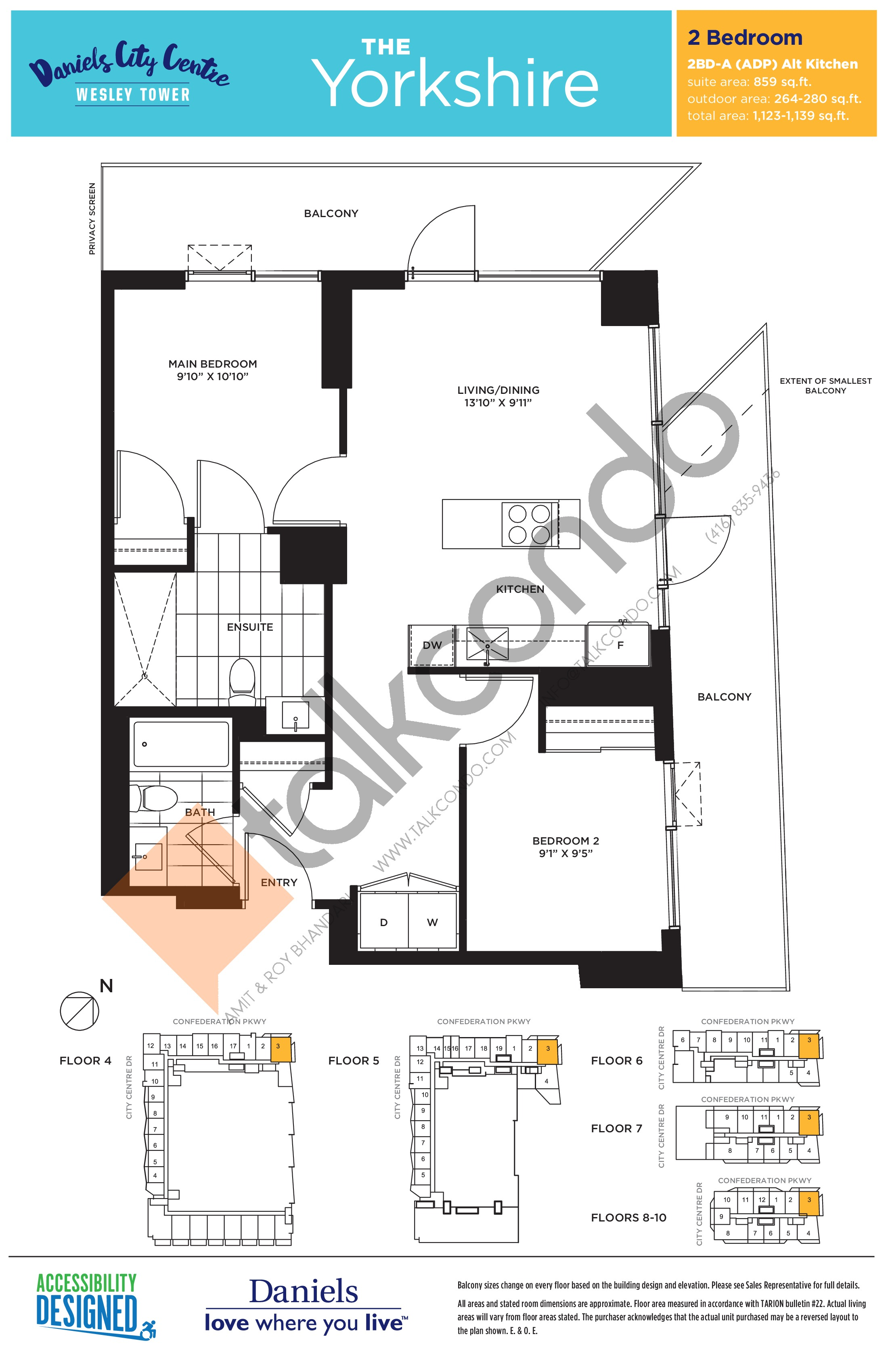 The Yorkshire Floor Plan at The Wesley Tower at Daniels City Centre Condos - 859 sq.ft