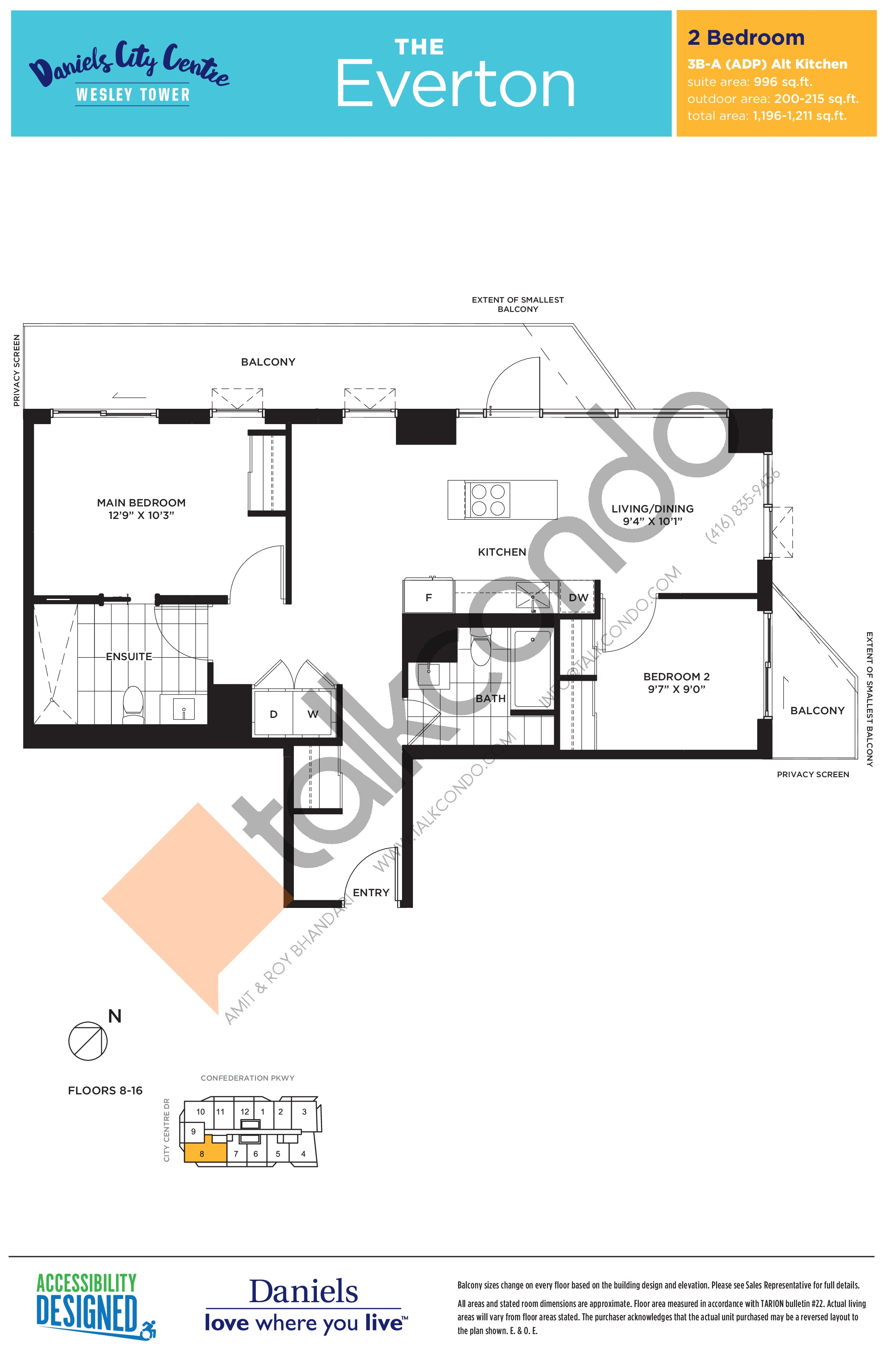 The Everton Floor Plan at The Wesley Tower at Daniels City Centre Condos - 996 sq.ft