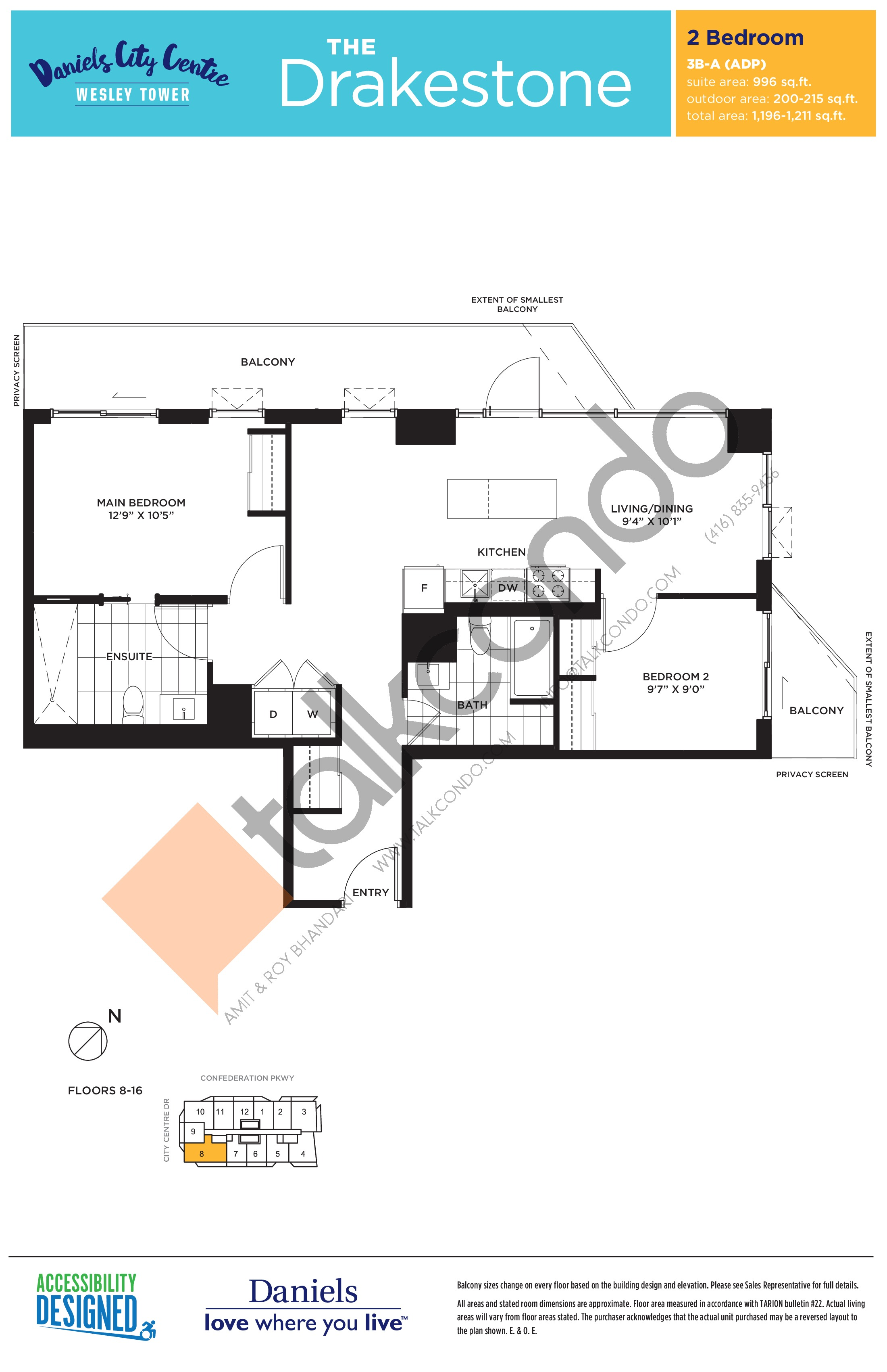 The Drakestone Floor Plan at The Wesley Tower at Daniels City Centre Condos - 996 sq.ft