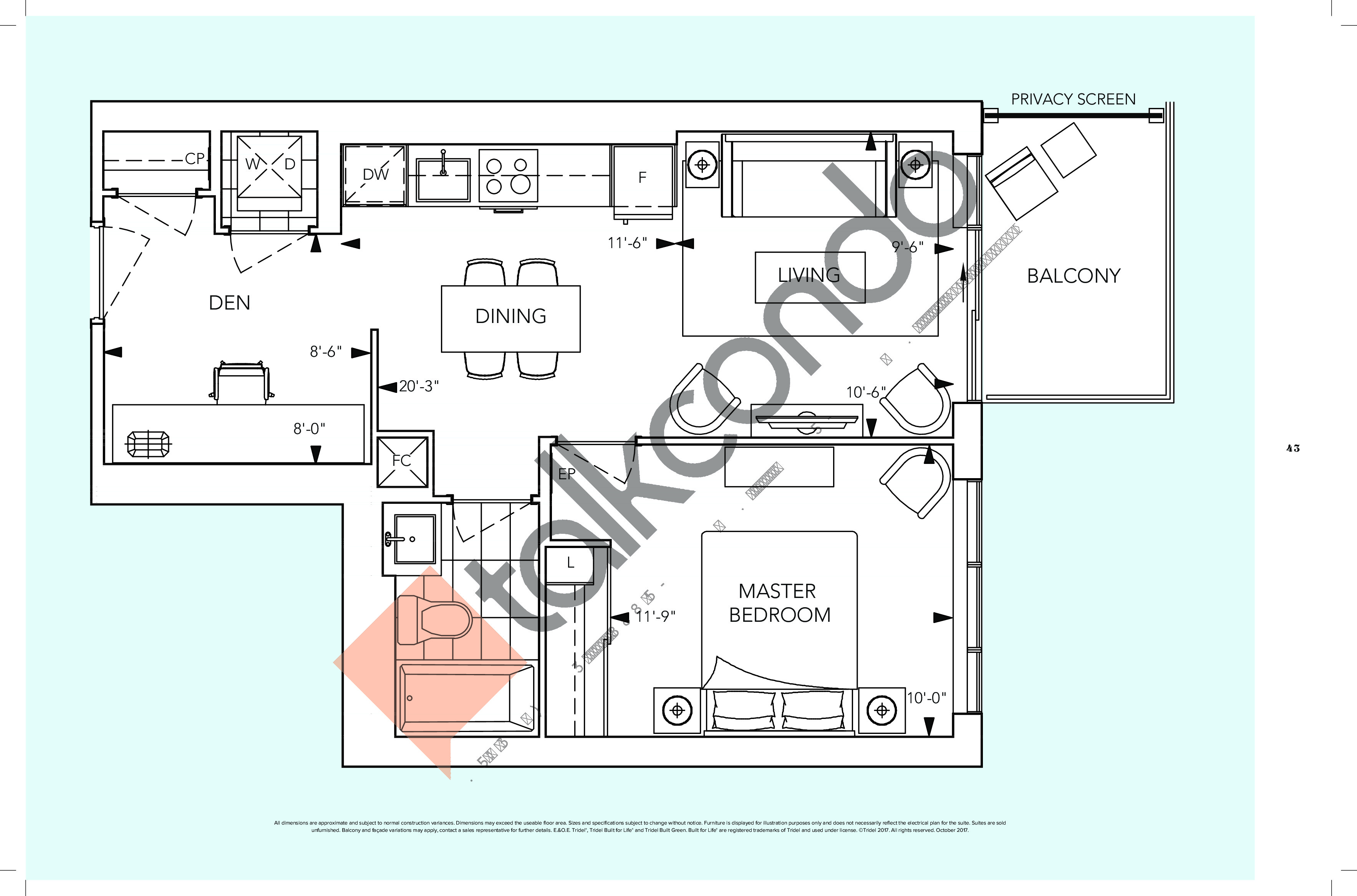 1D+D/1D+DR Floor Plan at Auberge On The Park Condos - 592 sq.ft