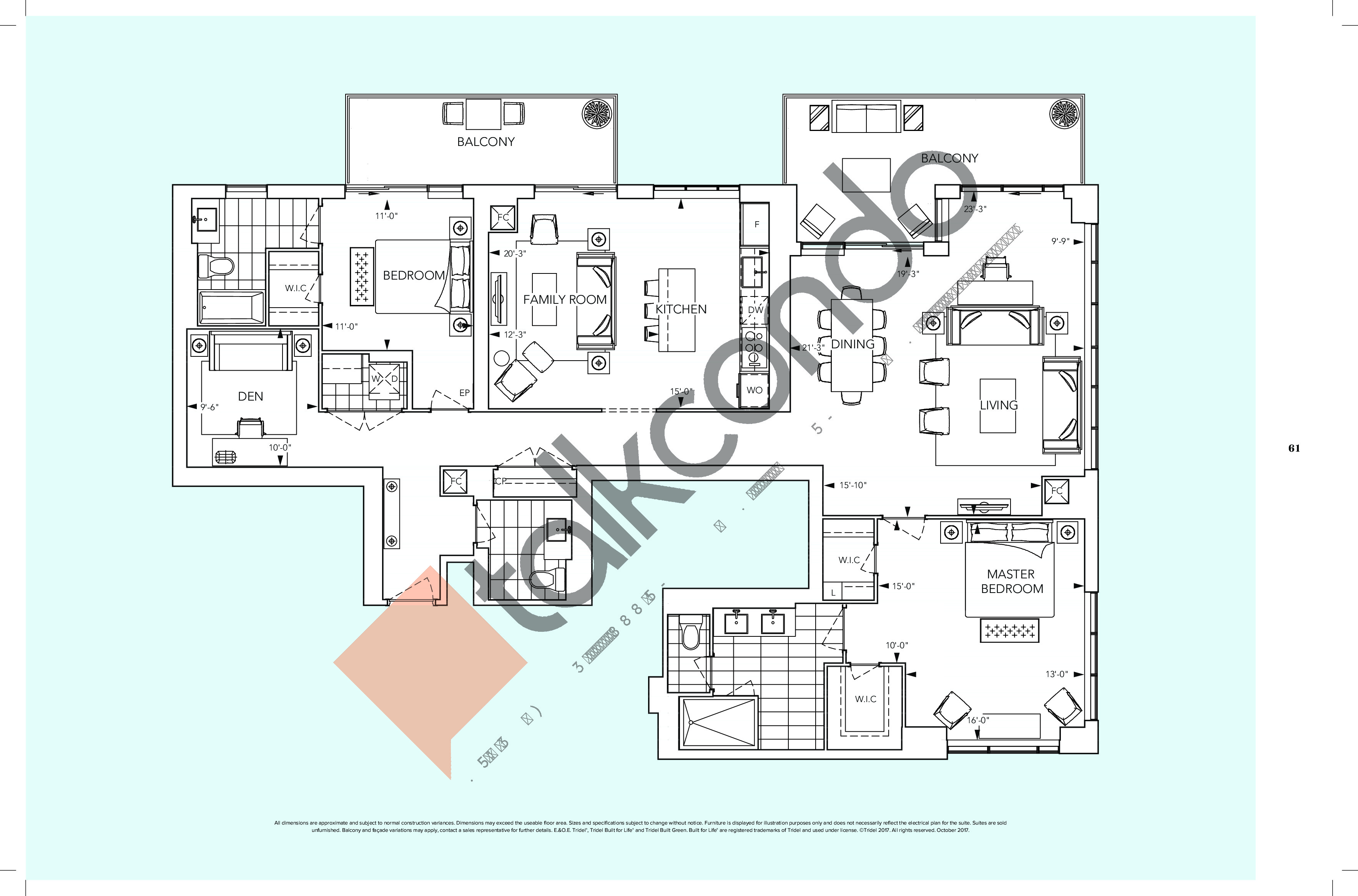 PH2B+DF Floor Plan at Auberge On The Park Condos - 2070 sq.ft