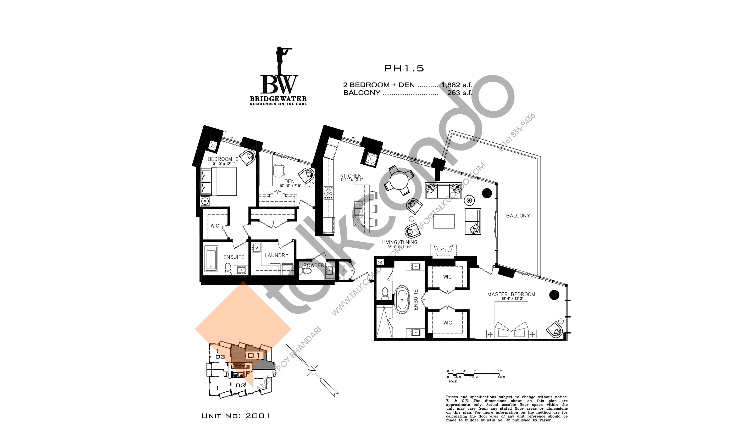 Unit 2001 Floor Plan at Bridgewater Residences on the Lake Condos - 1882 sq.ft