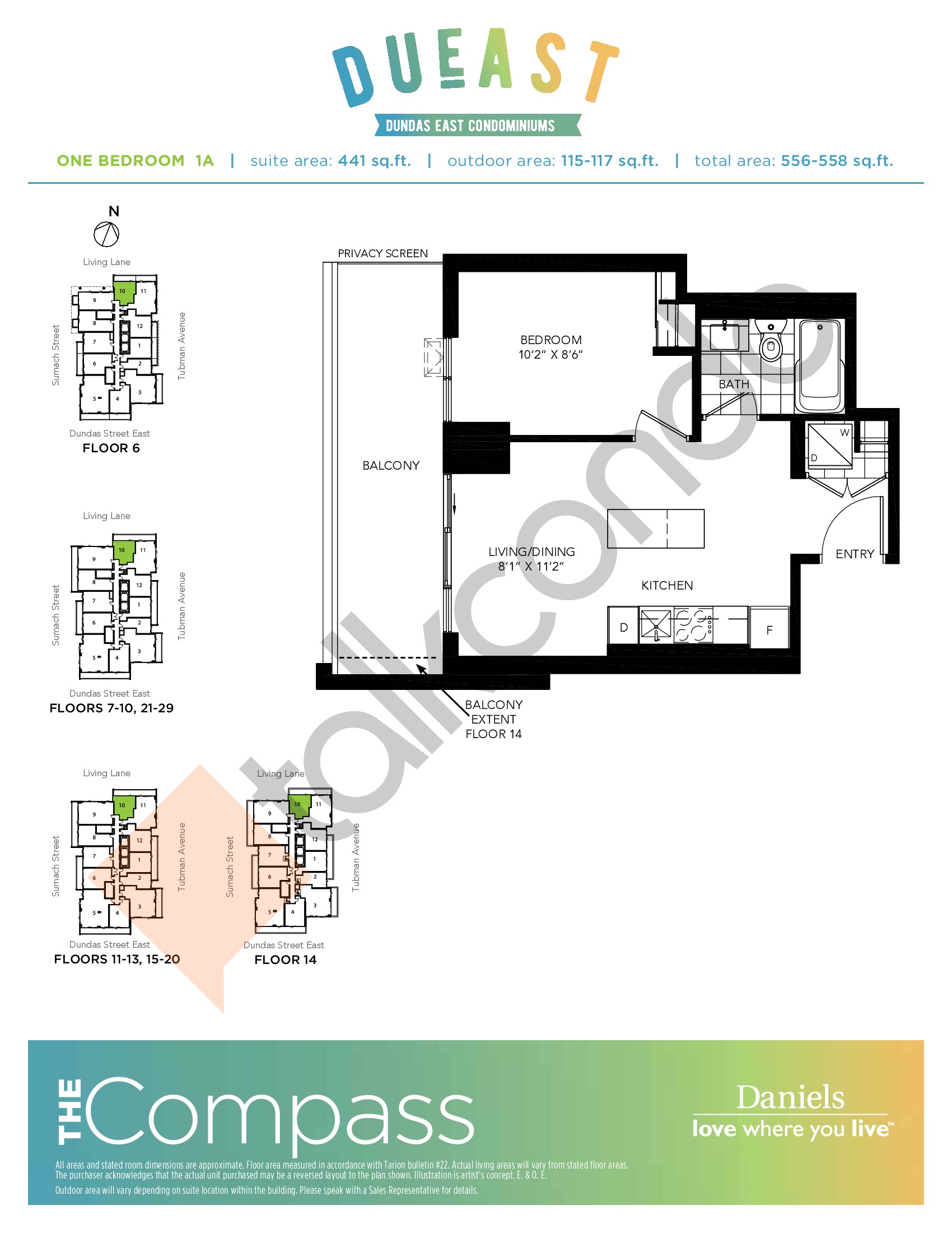 The Compass (1A) Floor Plan at DuEast Condos - 441 sq.ft