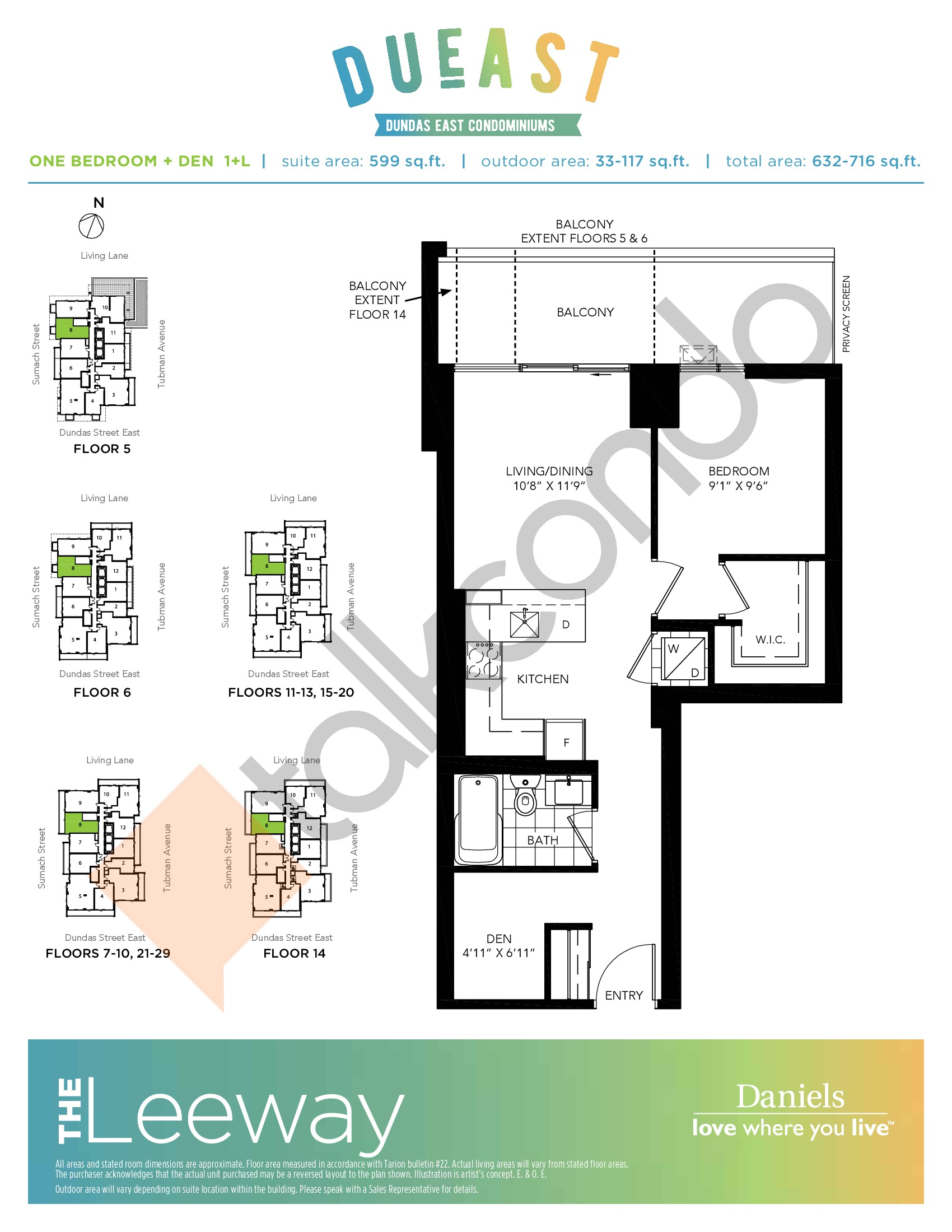The Leeway (1+L) Floor Plan at DuEast Condos - 599 sq.ft