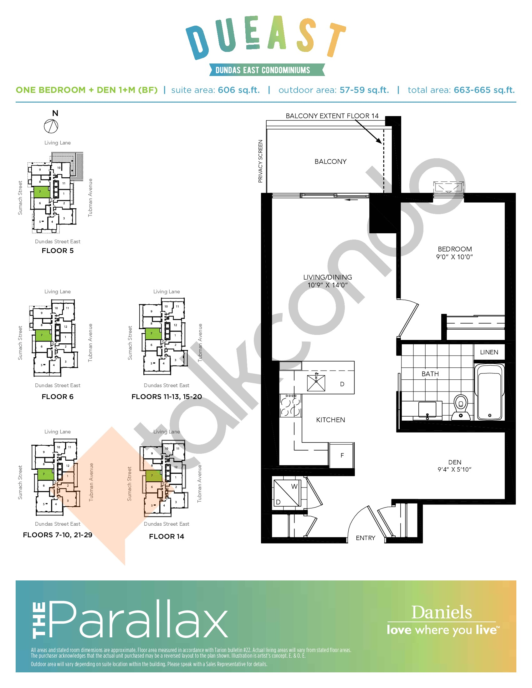 The Parallax 1+M (BF) Floor Plan at DuEast Condos - 606 sq.ft